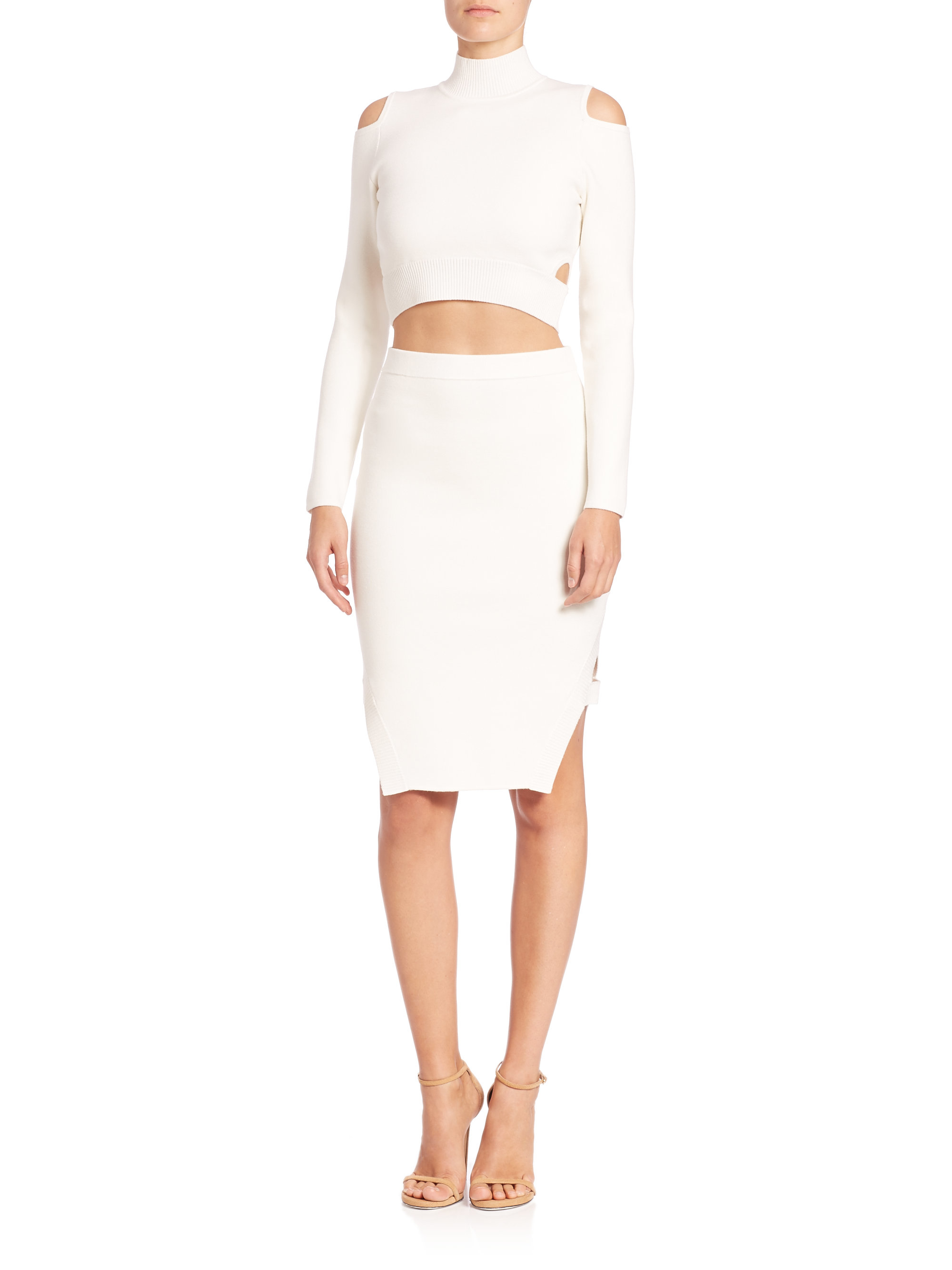 Jonathan simkhai Cutout Cropped Turtleneck Sweater in White | Lyst