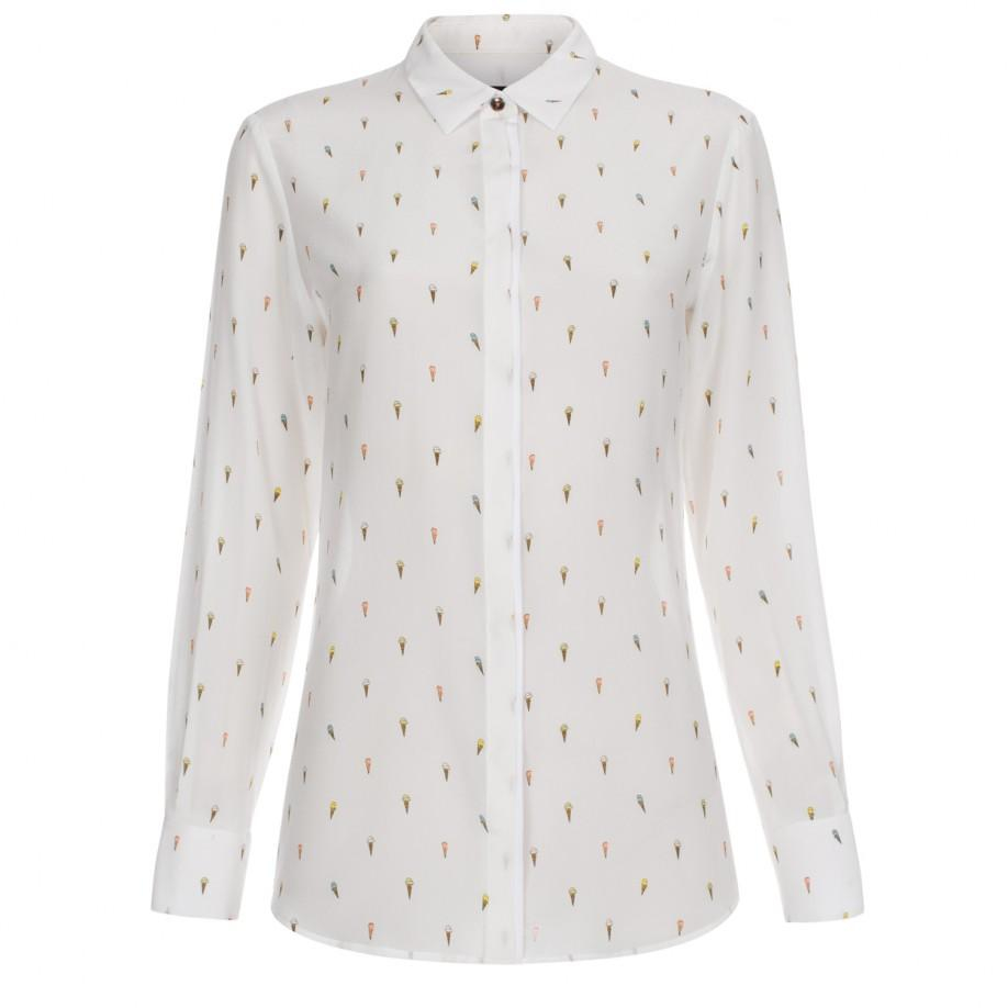 Paul smith Women's Off-white Silk Shirt With 'ice Cream' Print in ...