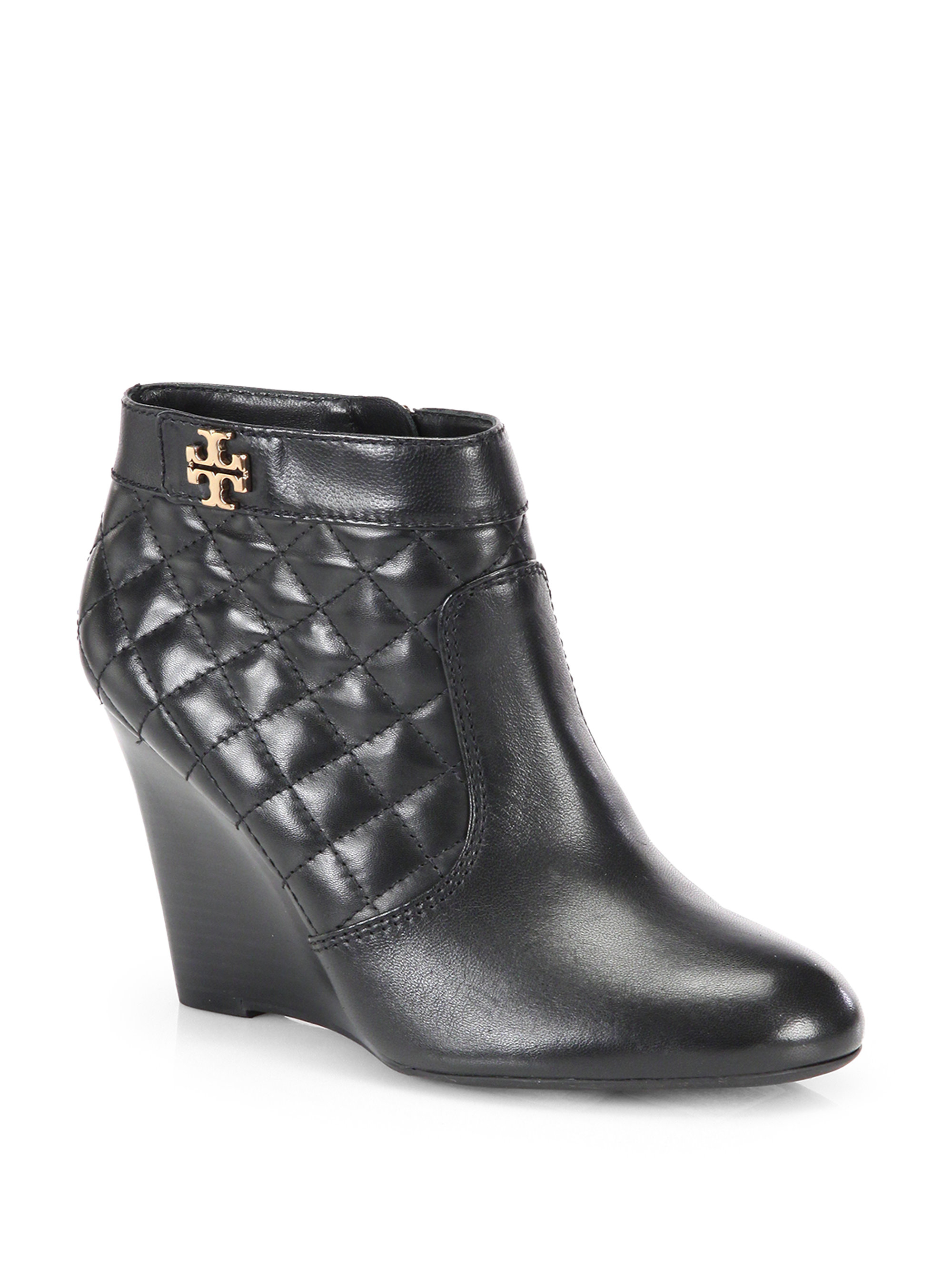 Lyst Tory Burch Leila Quilted Leather Wedge Ankle Boots