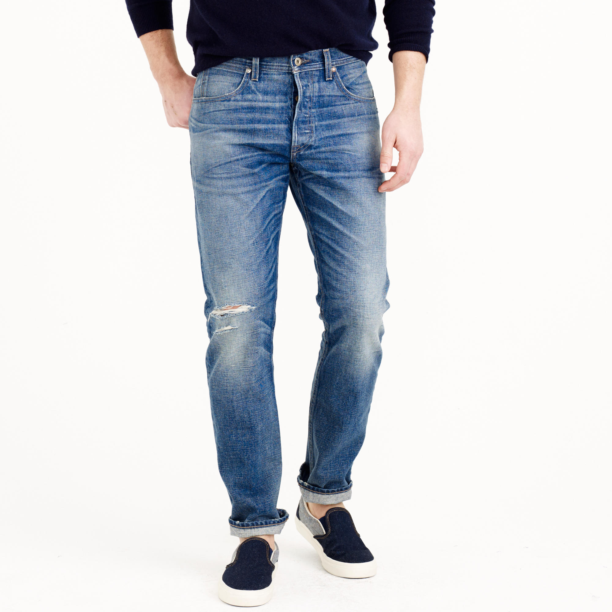 J Crew Wallace Amp Barnes Japanese Denim Jean In Destroyed