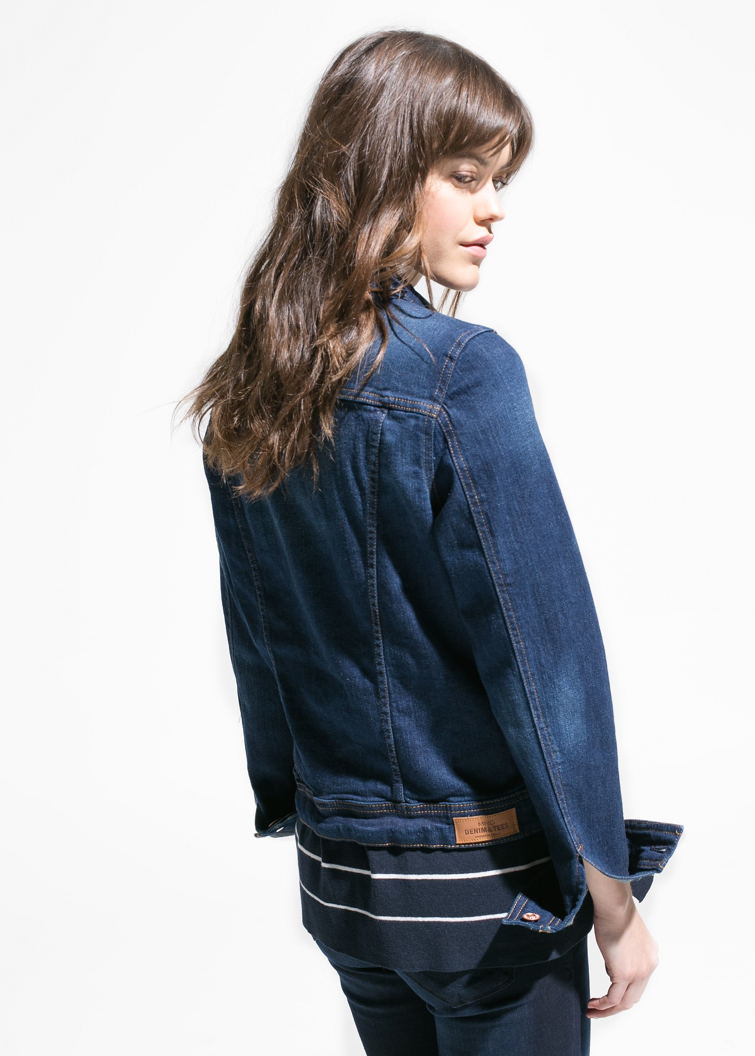 b37c989fa5 Lyst - Mango Dark Denim Jacket in Blue