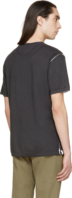 Rag bone black and white painted print t shirt in black for Rag and bone white t shirt