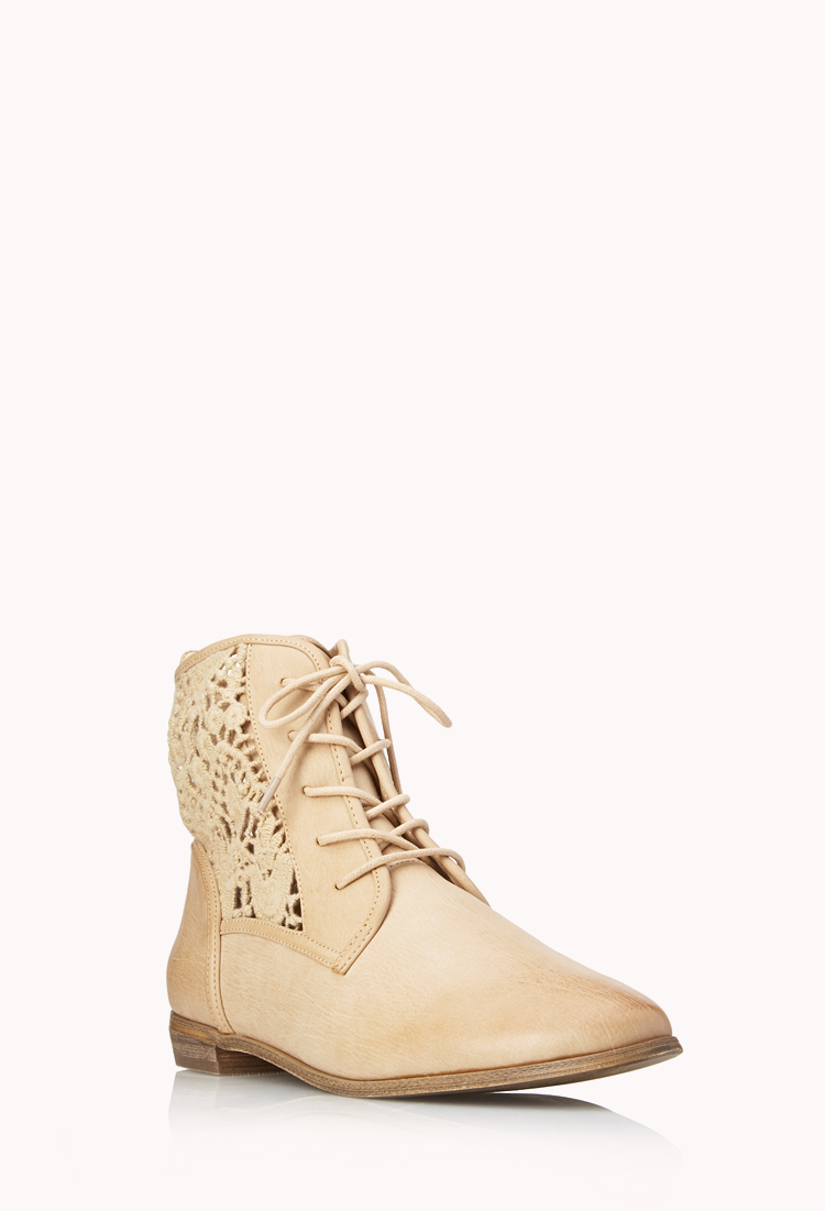 forever 21 rustic lace up boots in beige taupe lyst
