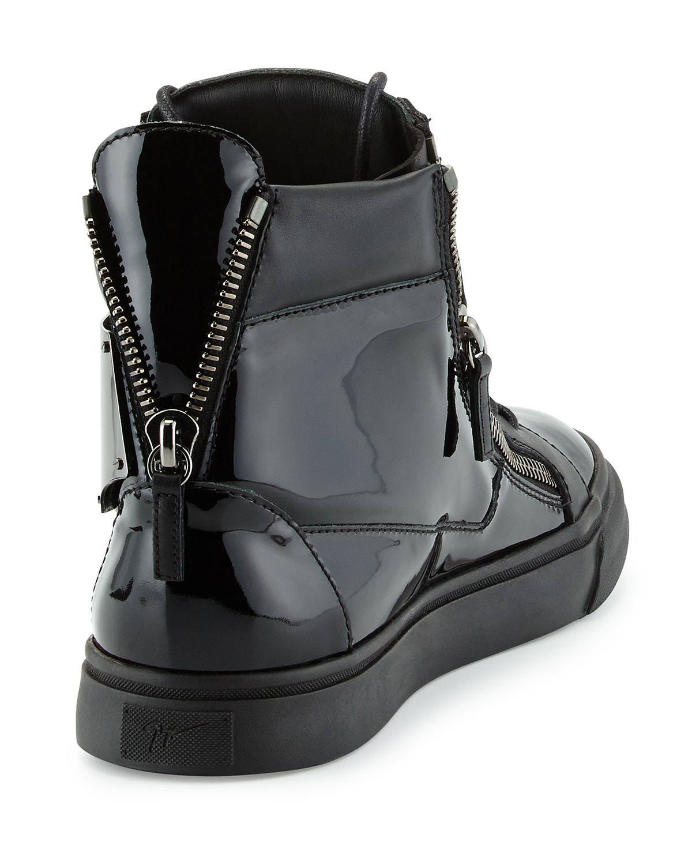 Giuseppe zanotti Mens Patent Logo-plate High-top Sneaker ...