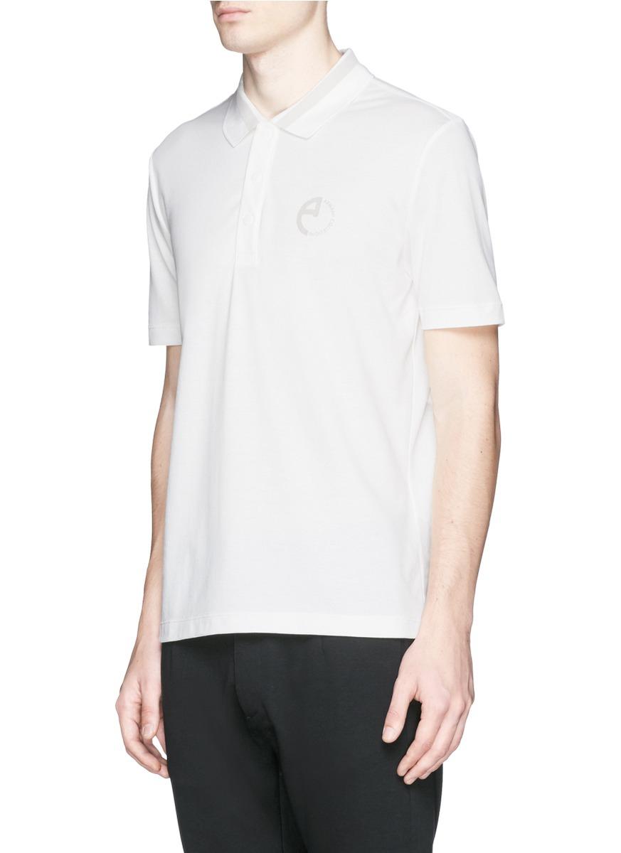 Armani Felt Logo Polo Shirt in White for Men | Lyst