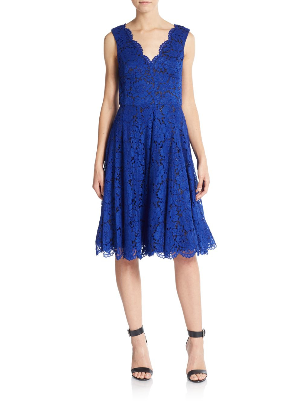 Lyst Vera Wang Floral Lace A Line Dress In Blue