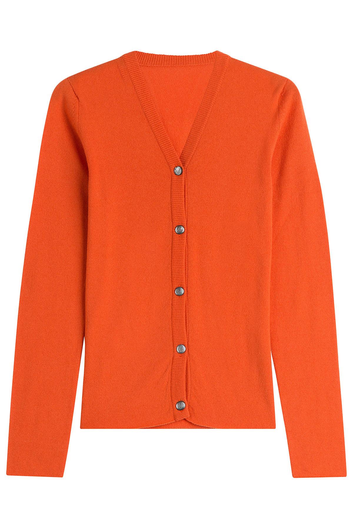 Lucien Pellat Finet Cashmere Cardigan Orange In Orange