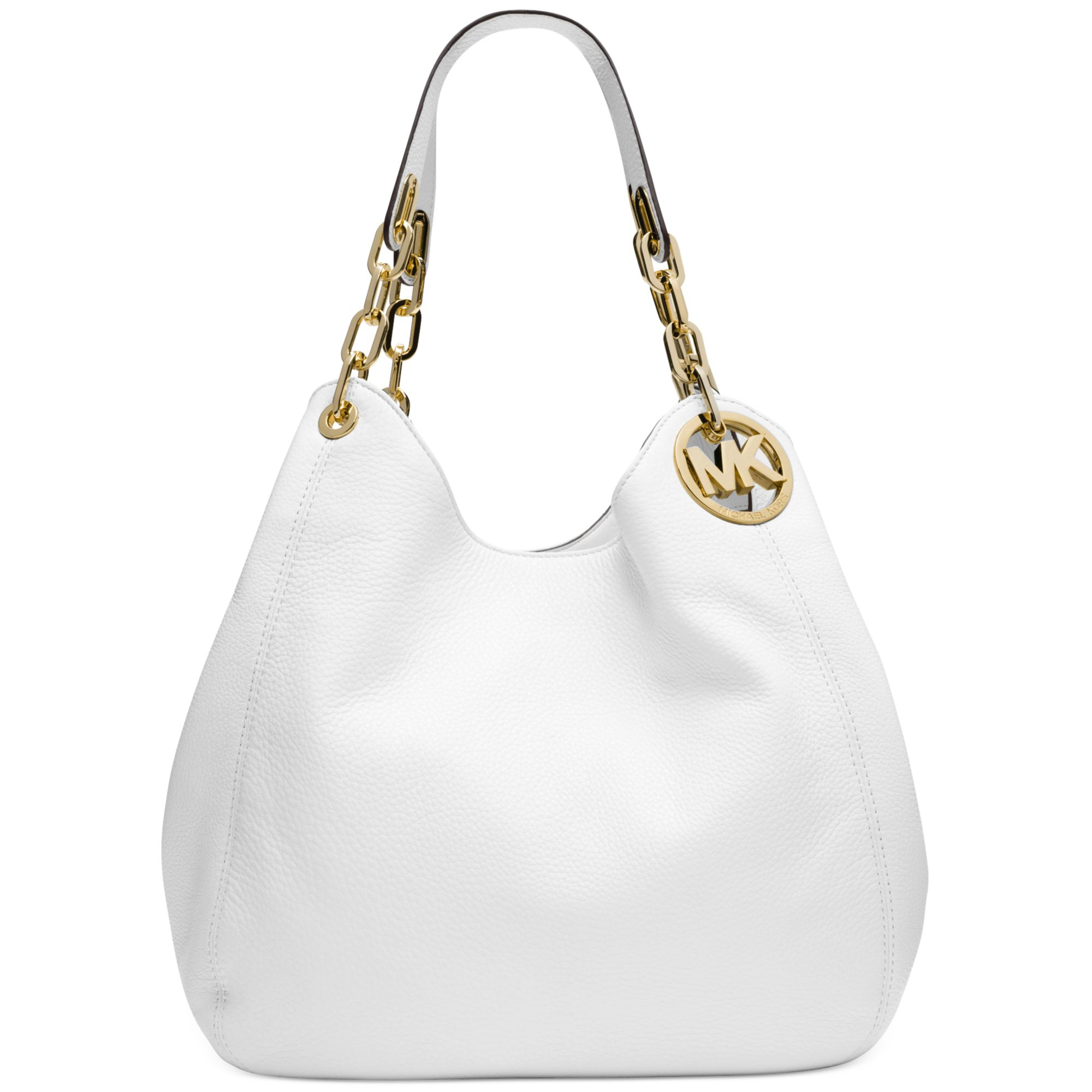 8363fc0f5fd0 Michael Kors Michael Fulton Large Shoulder Tote in White (OPTIC WHITE) -  Lyst