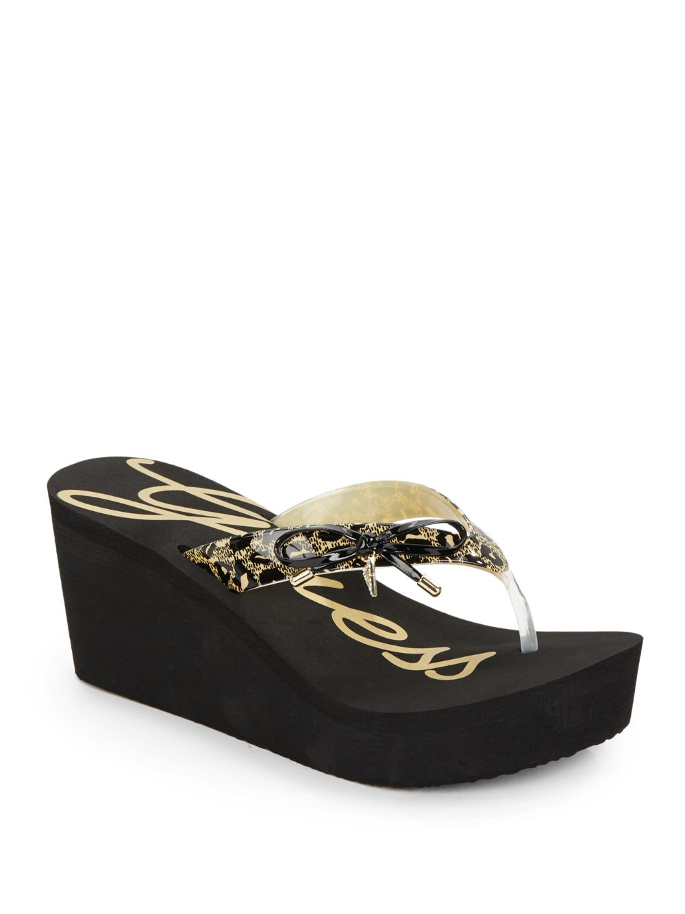 ac702558cb7955 Lyst - Guess Syona Leopard-Print Bow Platform Wedge Sandals in Black