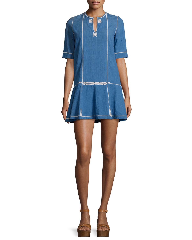 short embroidered dress - Blue Isabel Marant djbnL