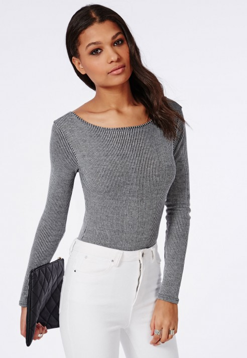 0580e9ff72 Missguided Scoop Back Ribbed Bodysuit Grey in Gray - Lyst