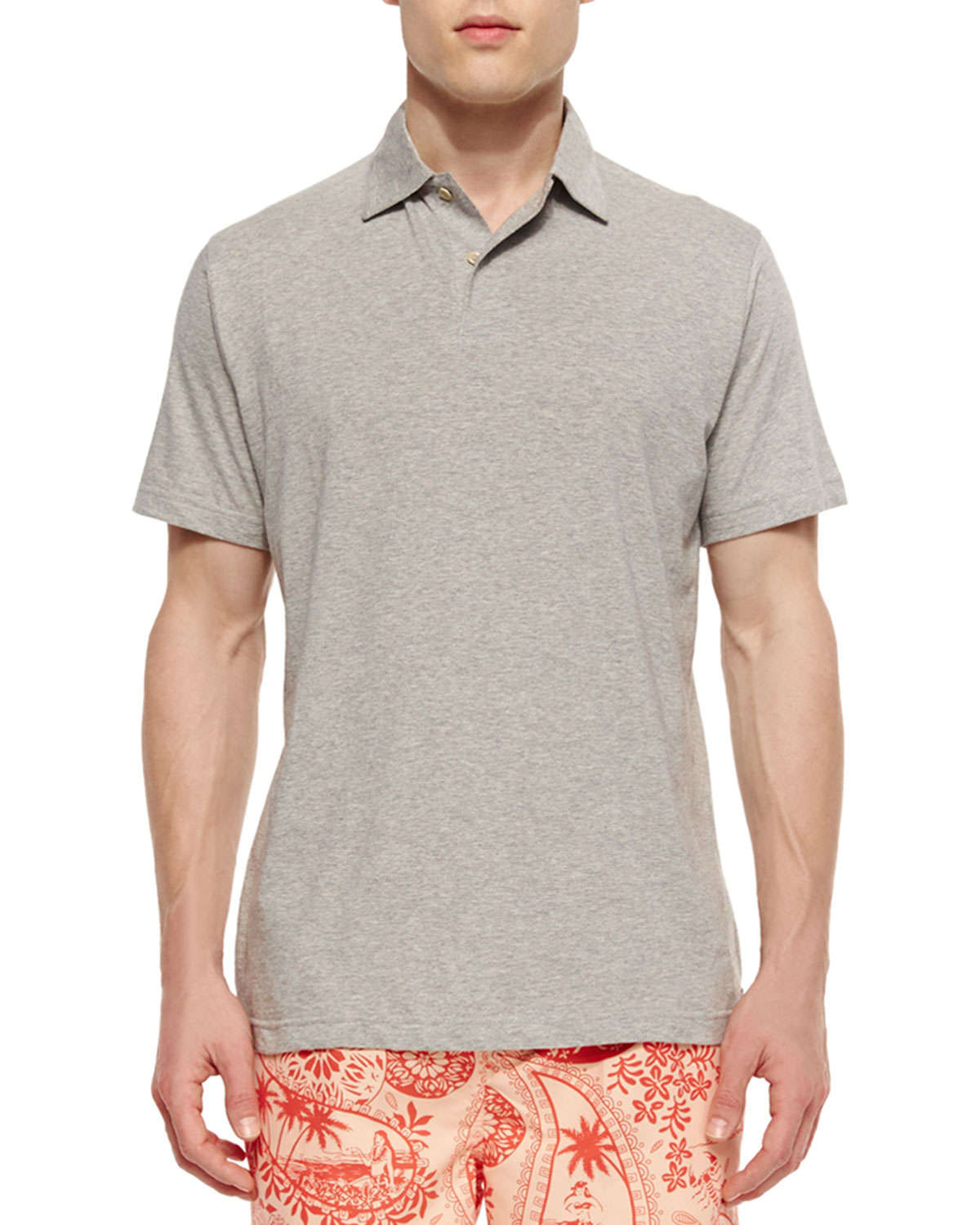 Peter millar seaside wash solid polo shirt in gray for men for Peter millar polo shirts
