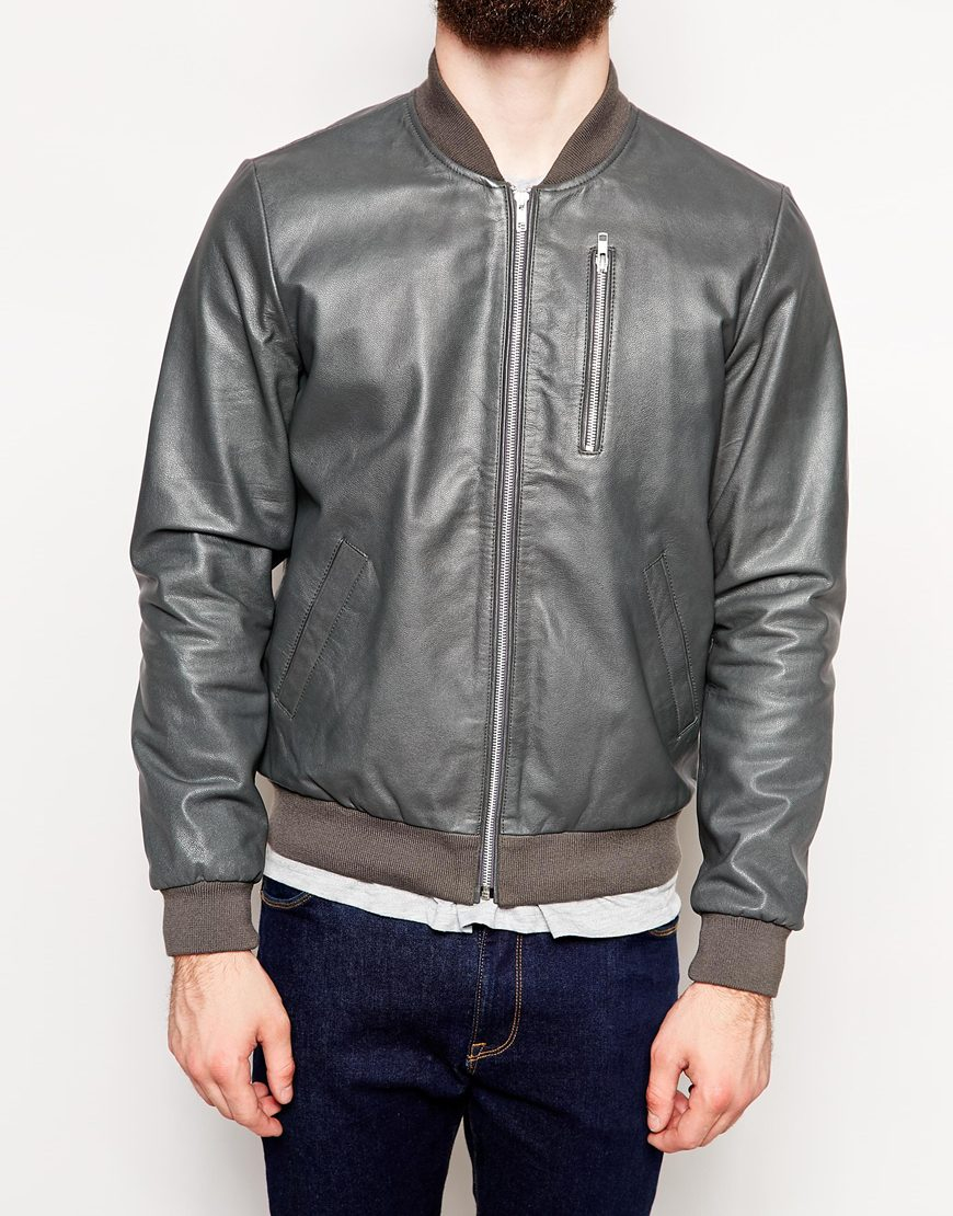 Asos Leather Bomber Jacket in Gray for Men | Lyst