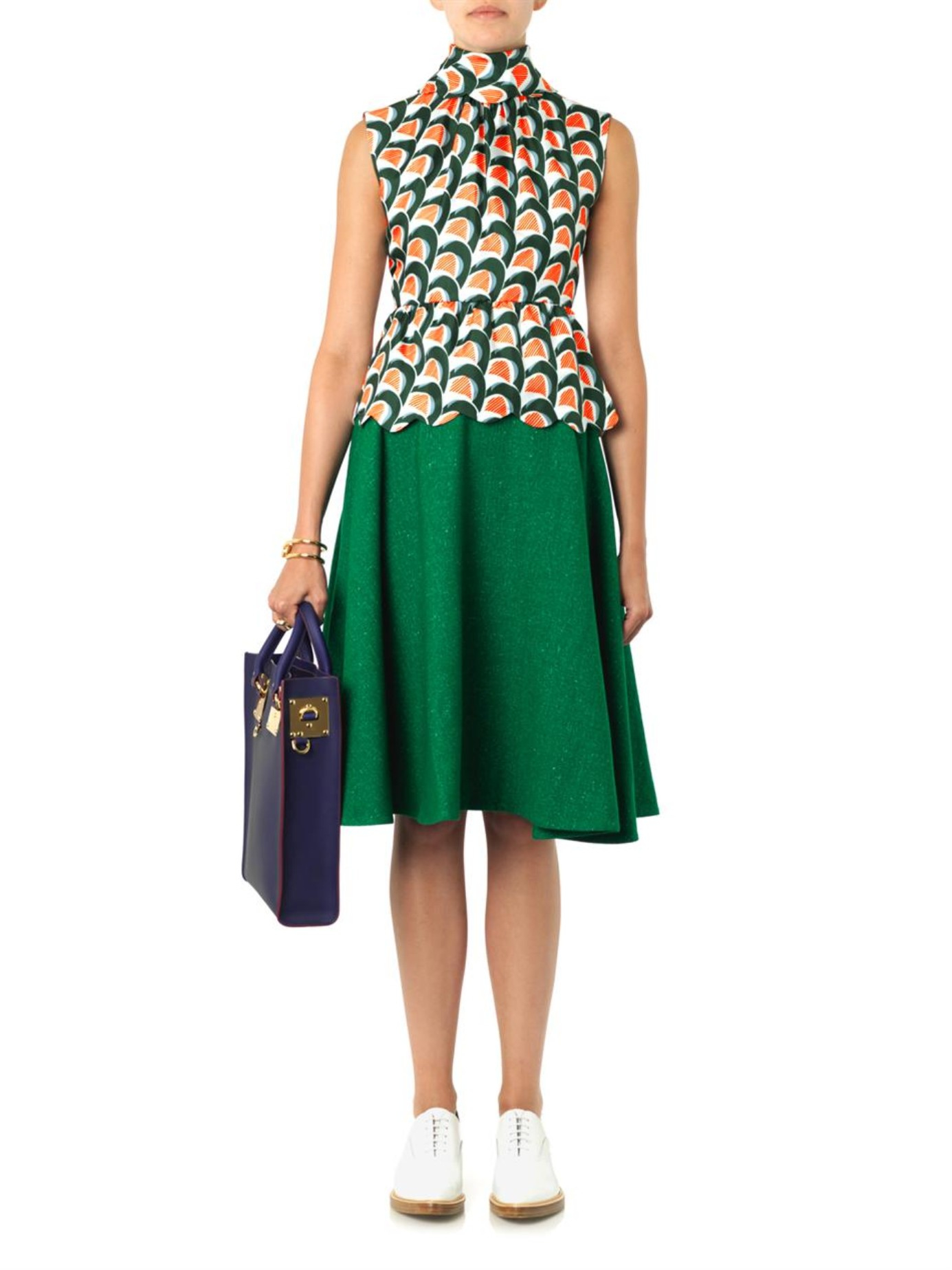 J.w.anderson Speckled-Wool A-Line Skirt in Green | Lyst