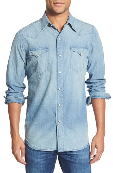 b54c6d499fef ... cheap lyst polo ralph lauren regular fit chambray western shirt in blue  56fda 4fef3