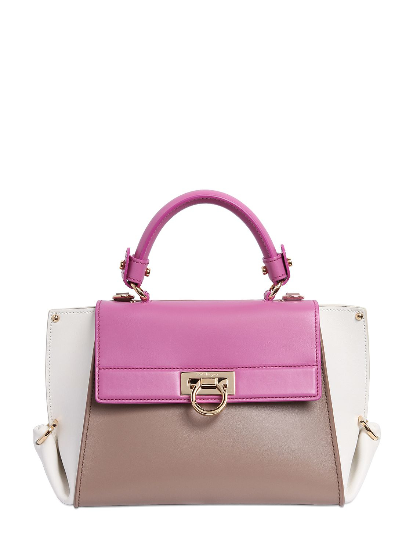 7ba6cac98eae Lyst - Ferragamo Small Sofia Color Blocked Leather Bag