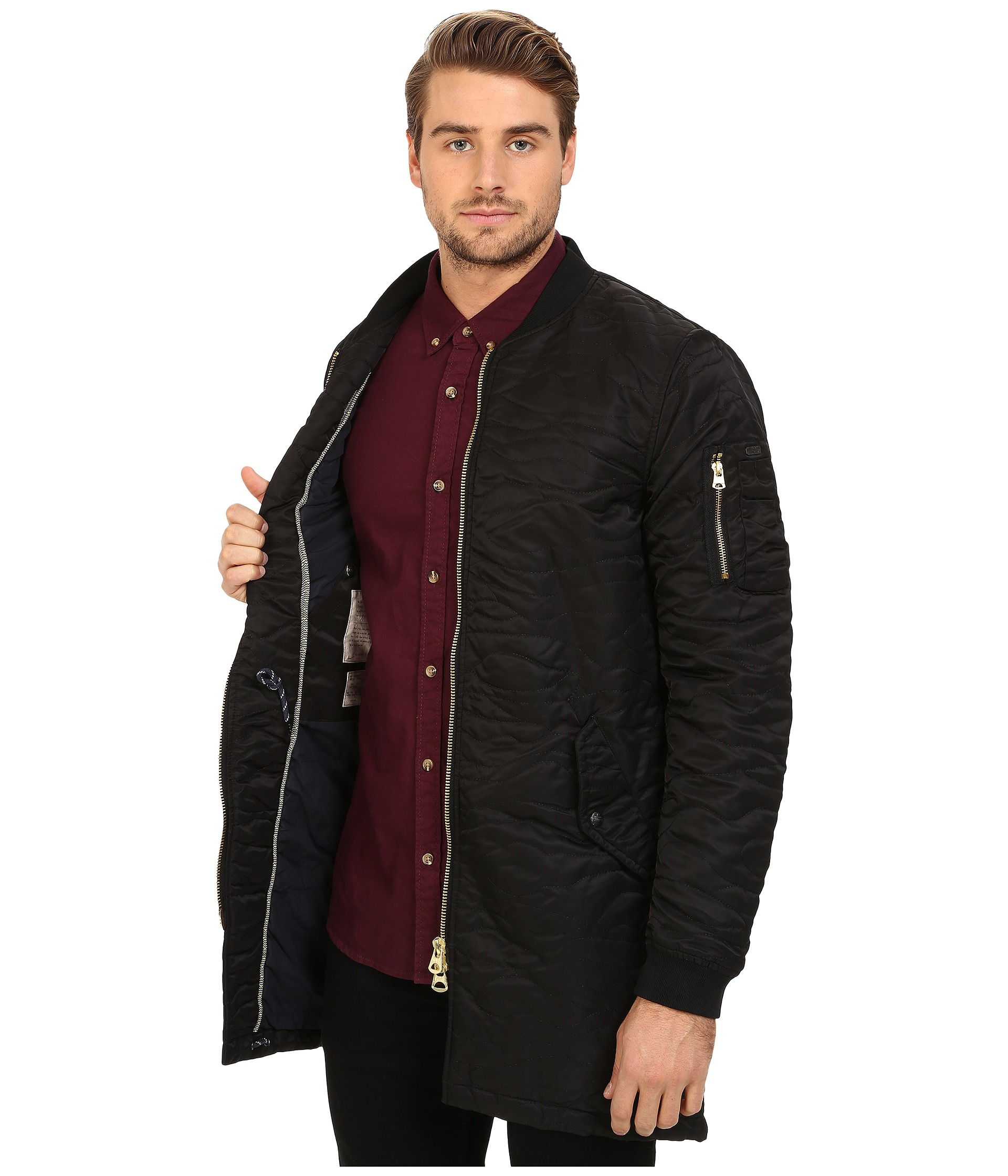 Scotch & soda Quilted Long Bomber Jacket in Black for Men | Lyst