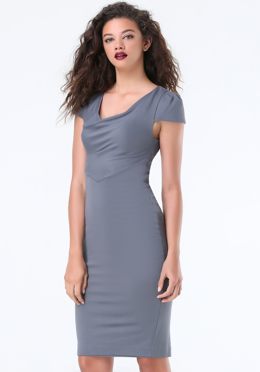 a616442eb108 Lyst - Bebe Cowl Neck Dress in Gray