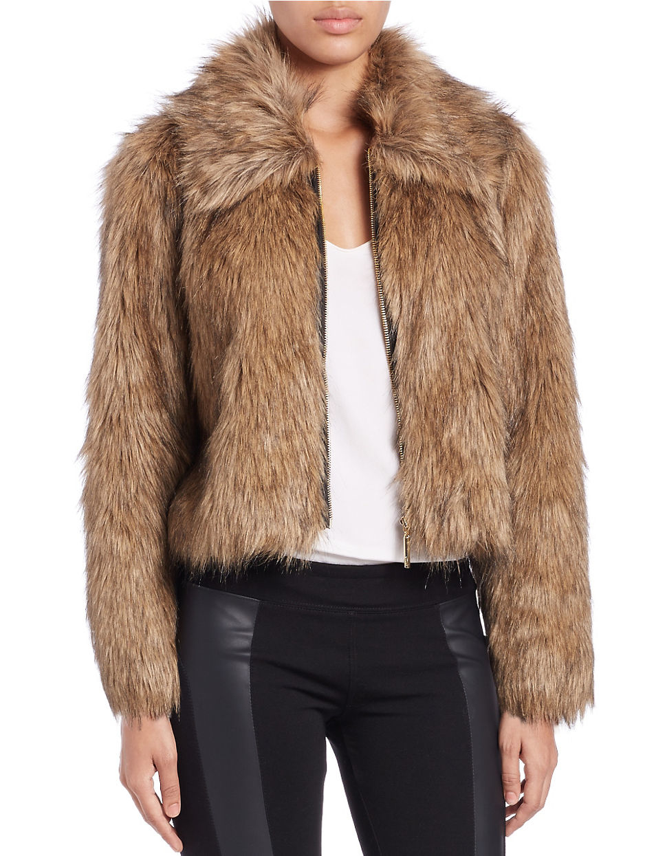This deal is already going fast! Urbancode Crop Coat In Faux Fur - Green for $ Was $