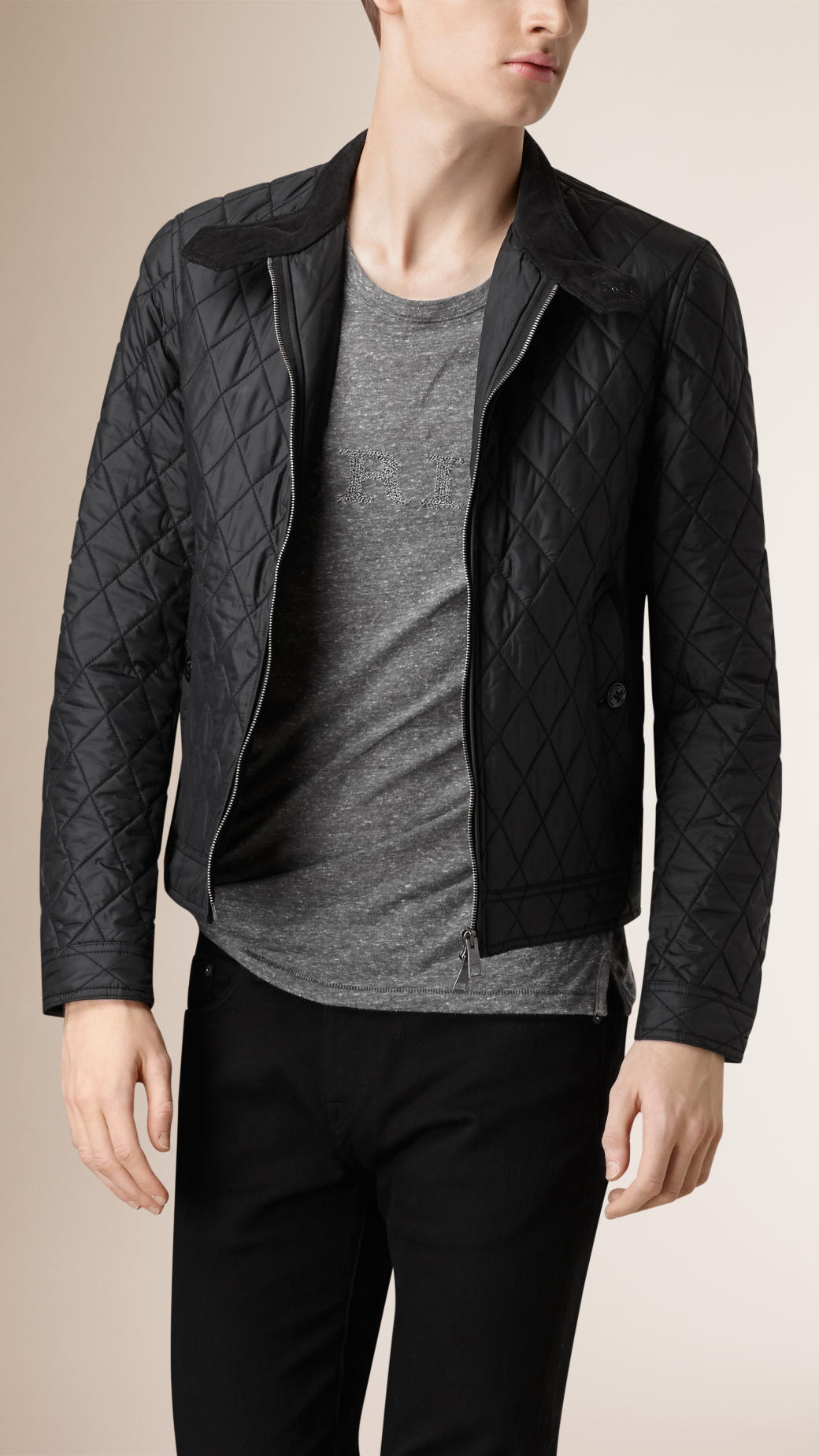 Burberry Diamond Quilted Harrington Jacket in Black for Men | Lyst : burberry diamond quilted jacket sale - Adamdwight.com