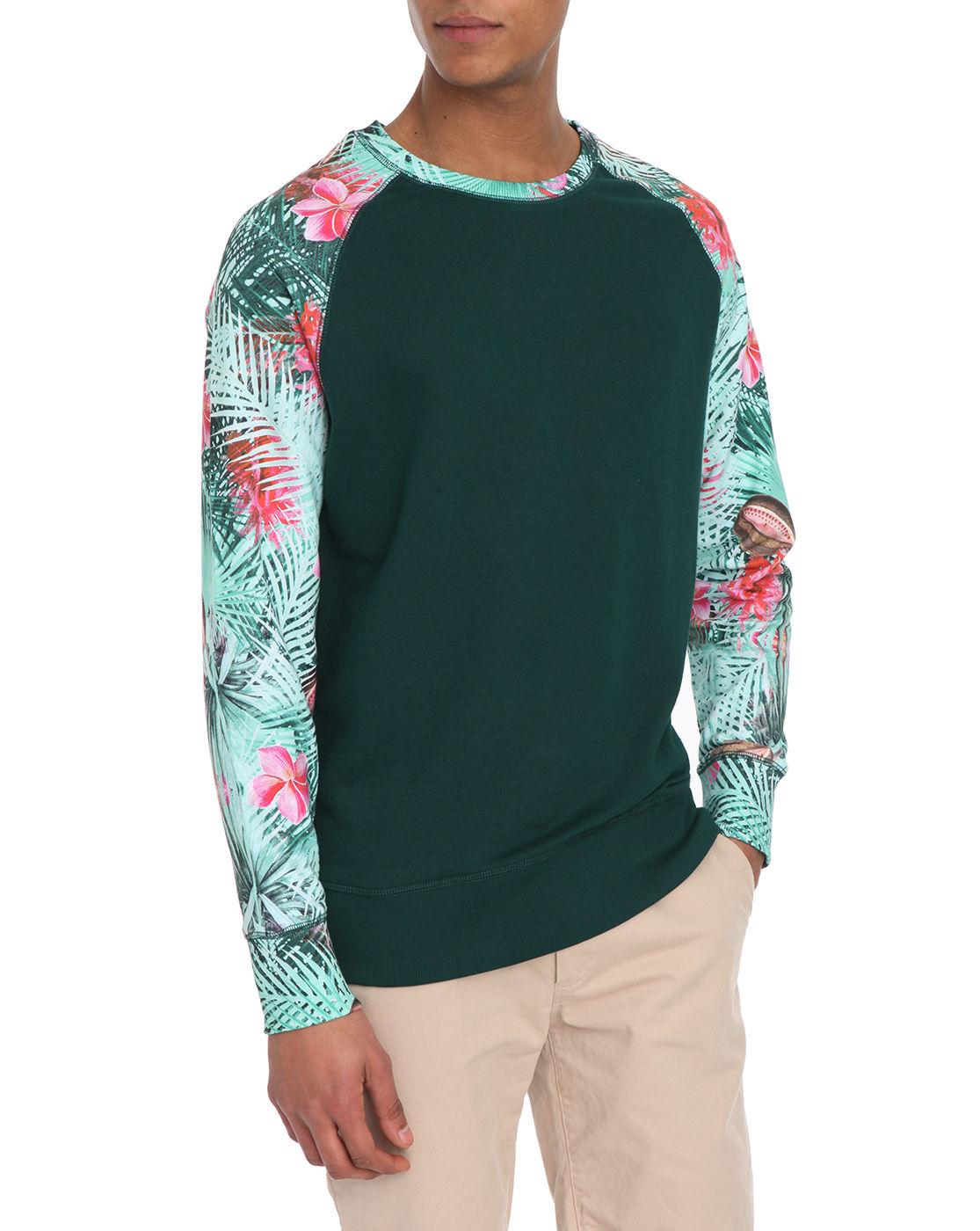 eleven paris raglan flowers sleeve green sweatshirt in green for men lyst. Black Bedroom Furniture Sets. Home Design Ideas