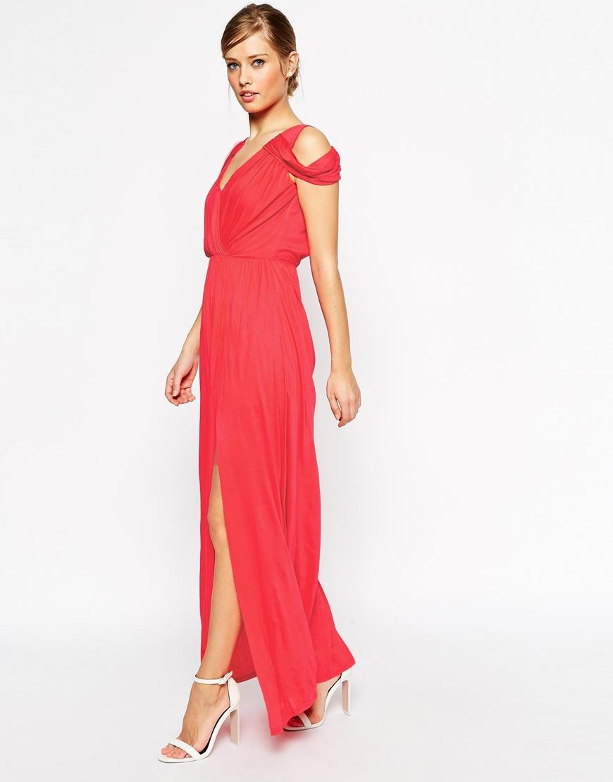 26d0b2b009f ASOS Cold Shoulder Wrap Maxi Dress in Pink - Lyst