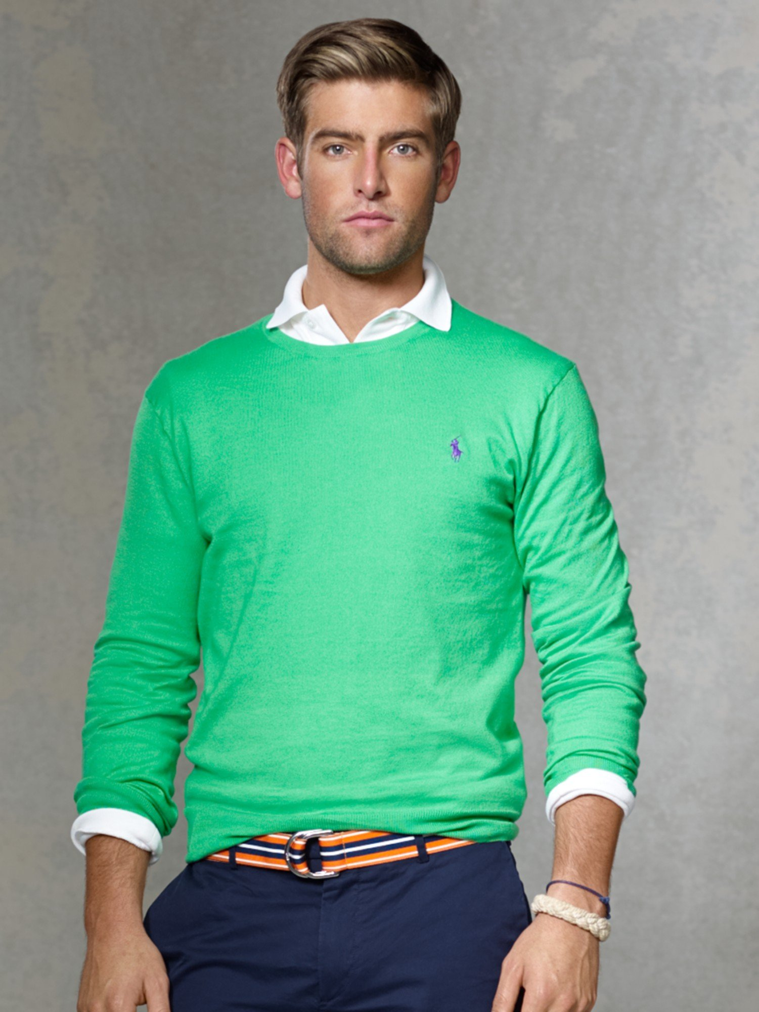 0188023286f4 ... where to buy polo ralph lauren long sleeve pima cotton jumper in green  for men lyst