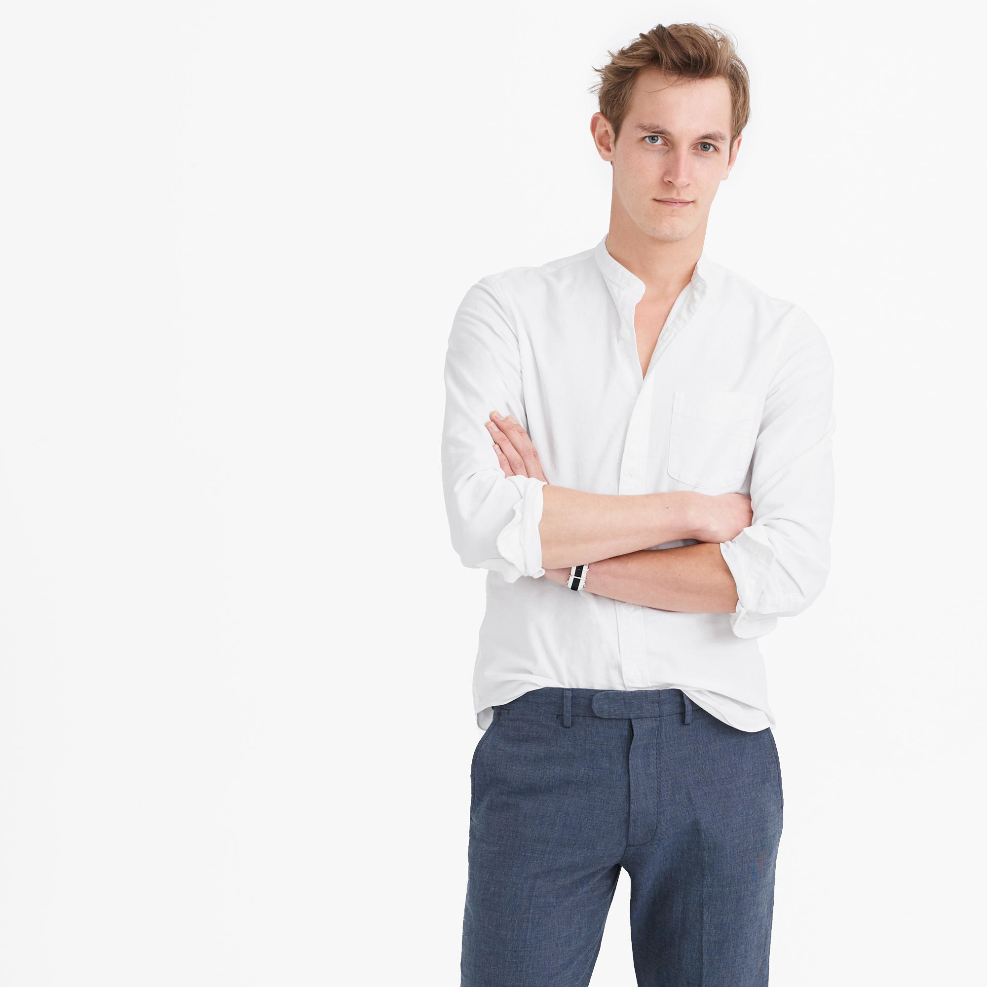 Lyst Jew Band Collar Oxford Shirt In White In White For Men