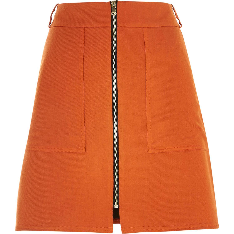 River Island Orange Skirt