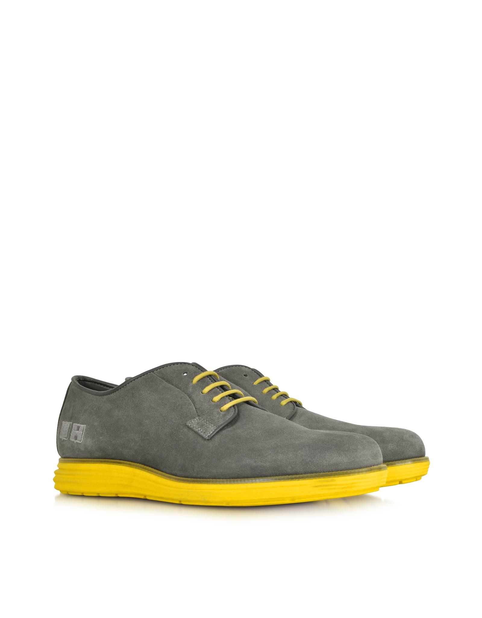 Lyst D Acquasparta Gray Suede Oxford W Yellow Rubber