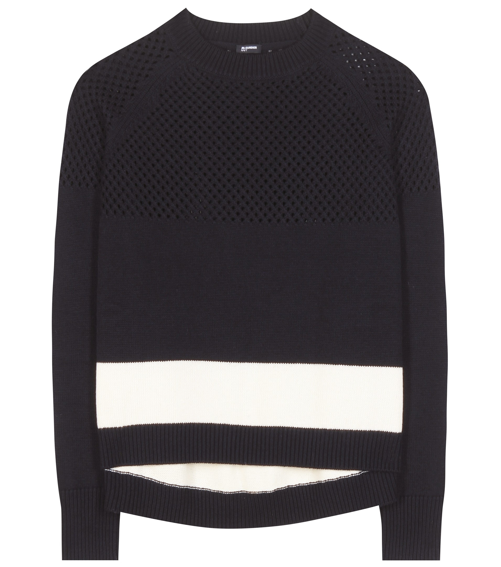 Jil sander navy Wool And Cotton Sweater in Black | Lyst