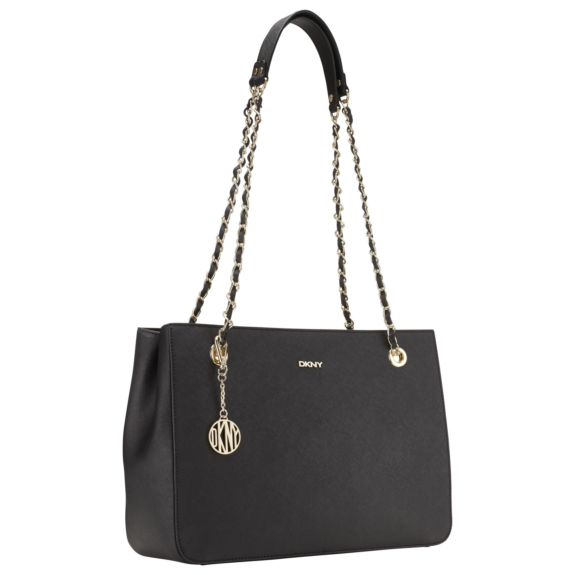dkny bryant park saffiano leather shopper chain bag in black lyst. Black Bedroom Furniture Sets. Home Design Ideas