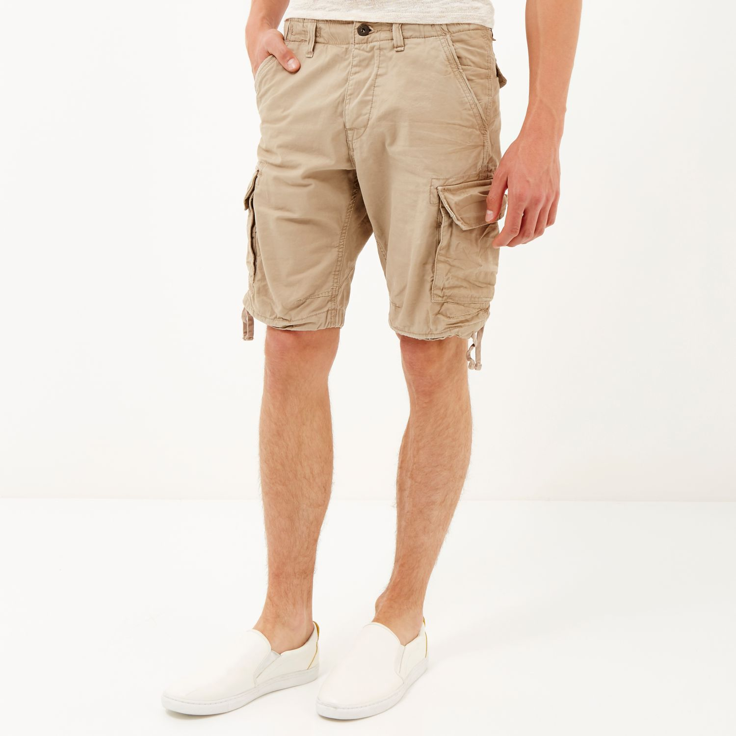 b710a46a98ae9 River Island Grey Jack & Jones Vintage Cargo Shorts in Natural for ...