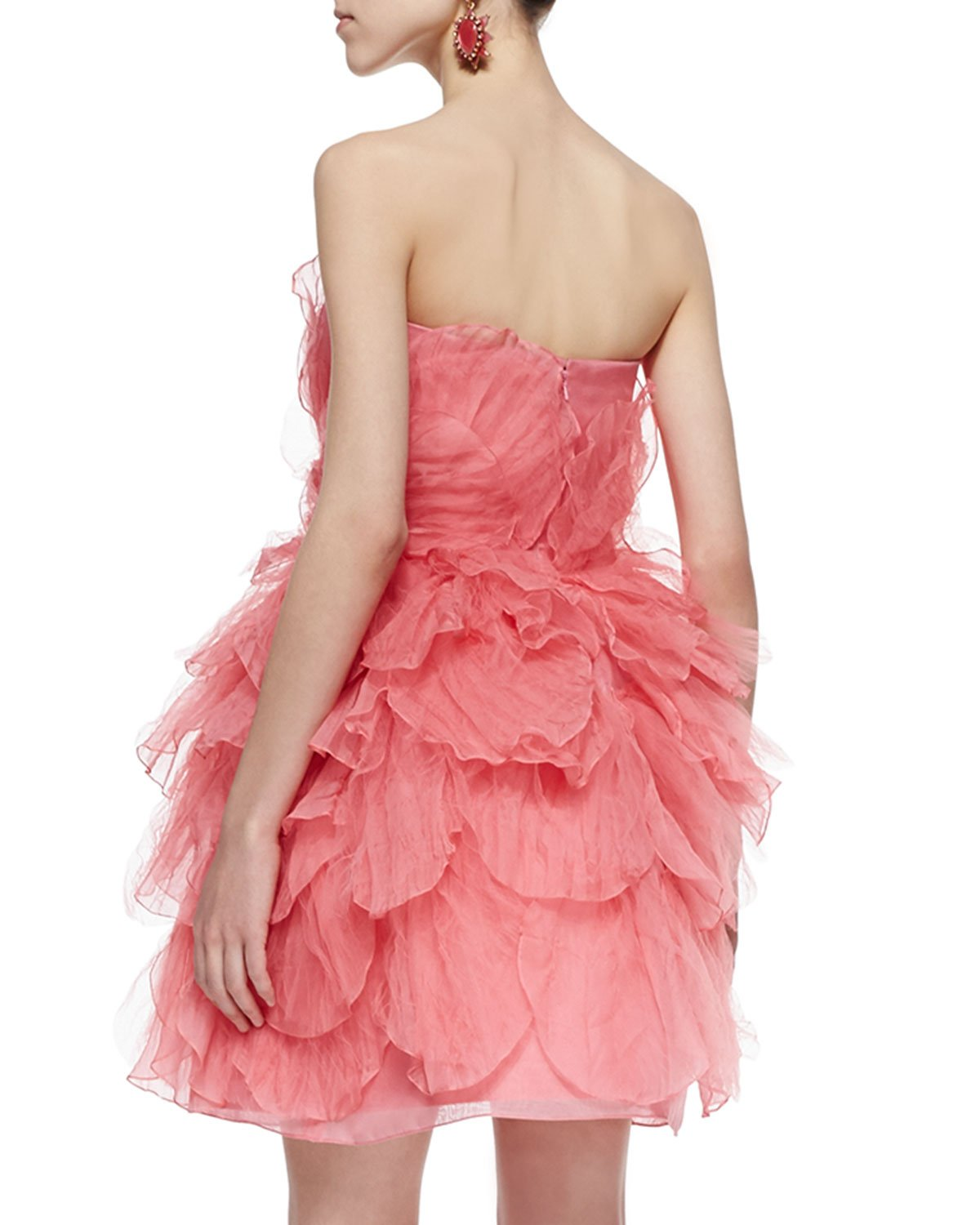 pink strapless tulle dress