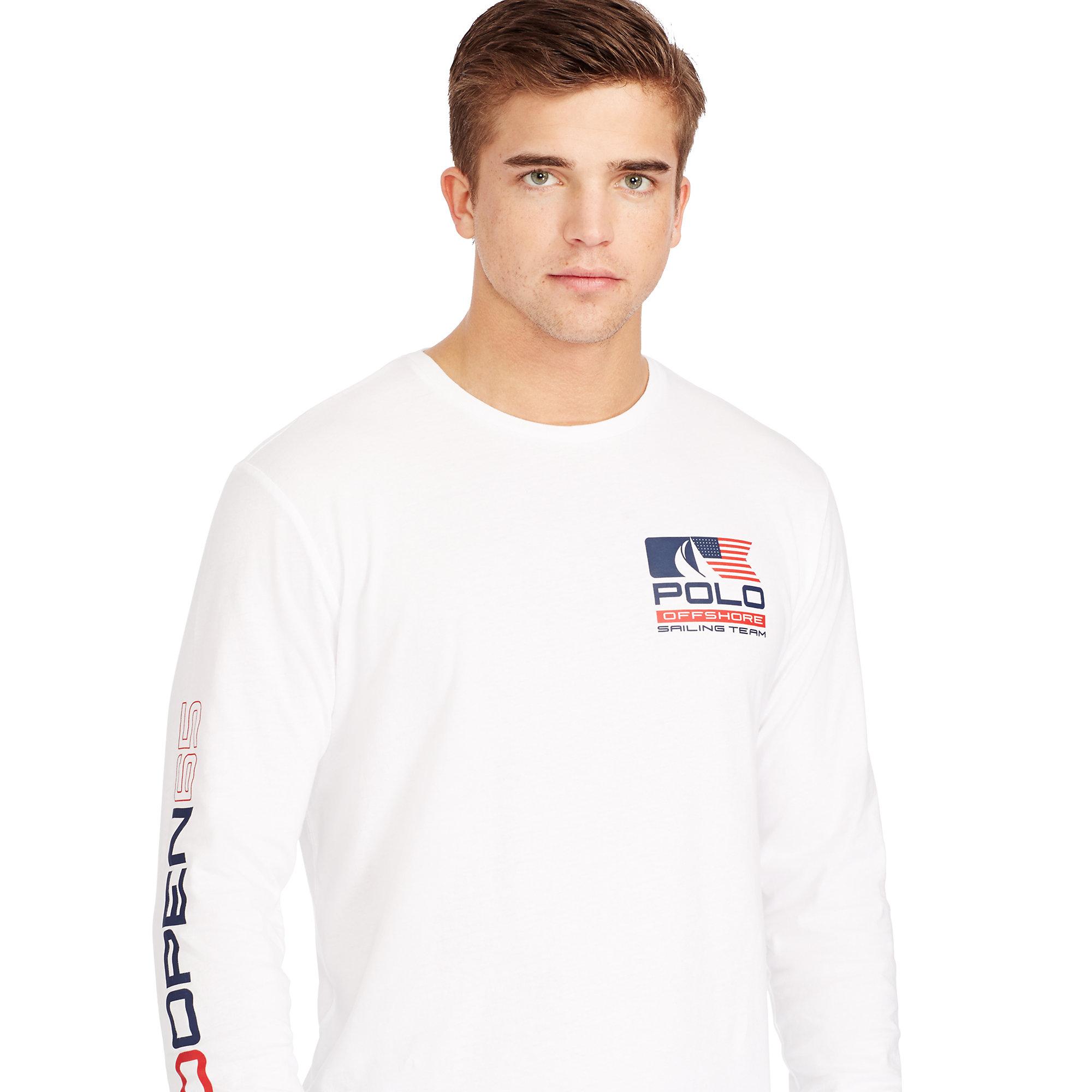 polo ralph lauren sailing team cotton t shirt in white. Black Bedroom Furniture Sets. Home Design Ideas