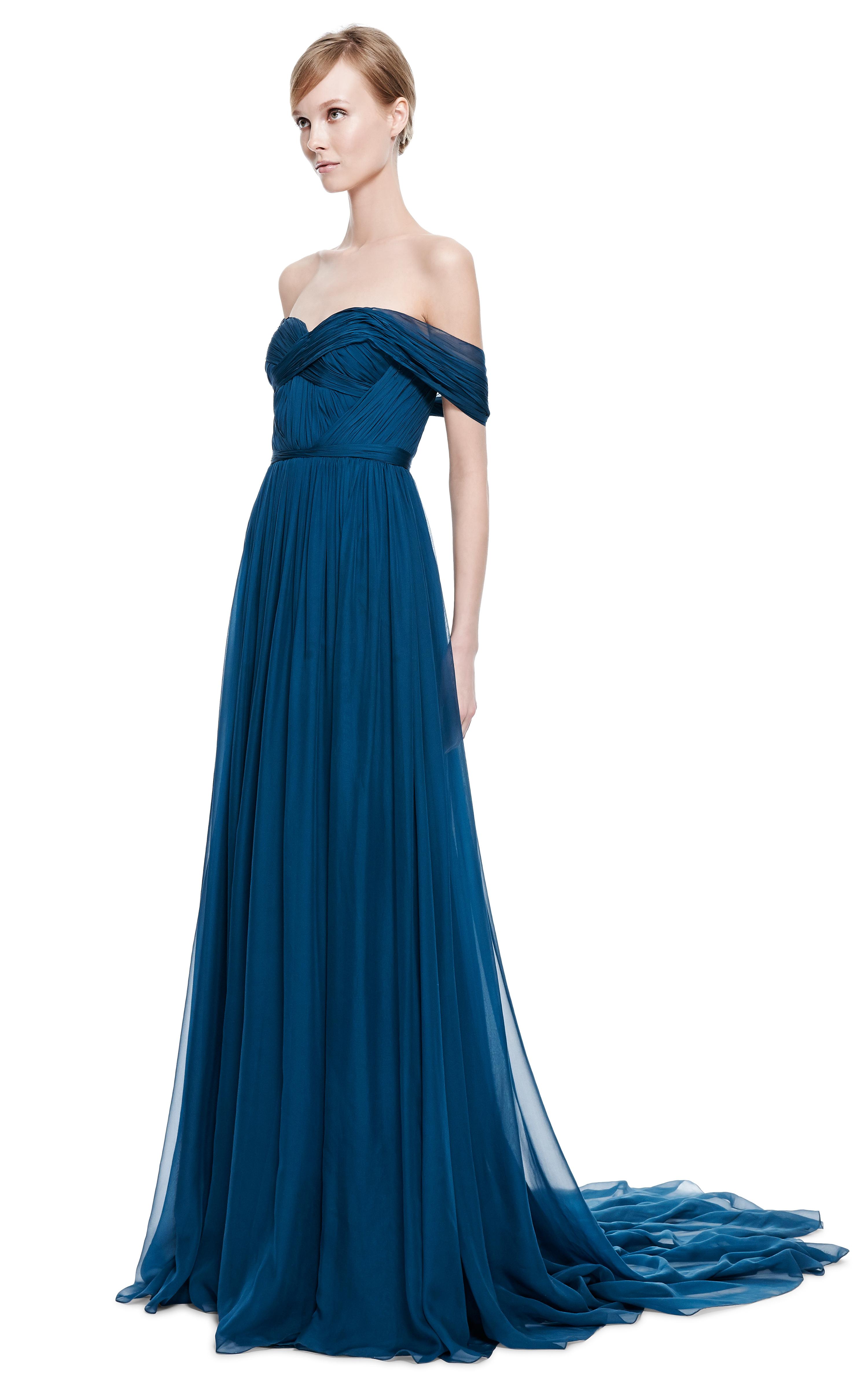Lyst Marchesa Teal Chiffon Offtheshoulder Gown In Blue