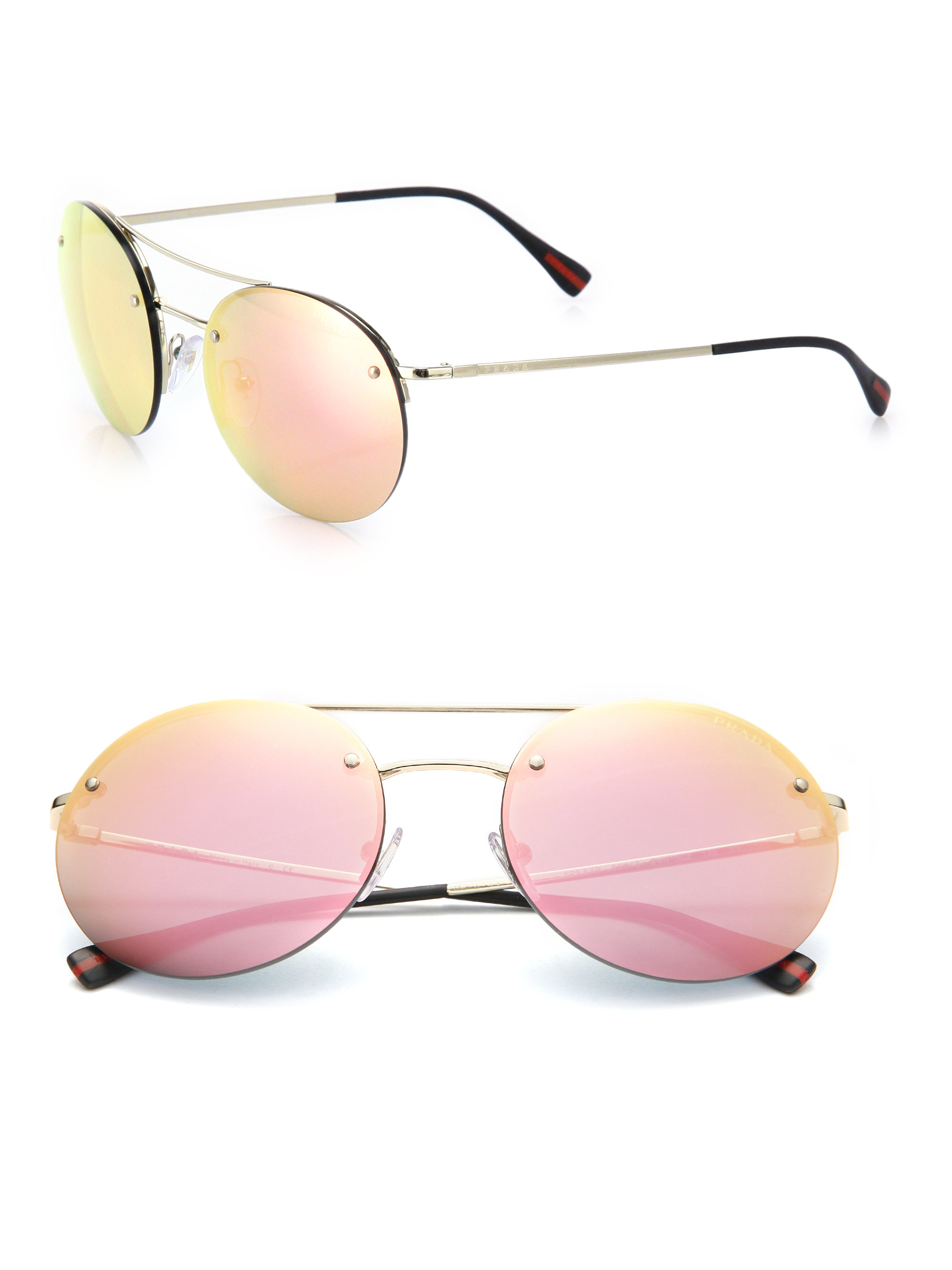 4ca55f2e3f3 ... promo code for lyst prada 56mm round metal sunglasses in pink for men  59c3e eb69a