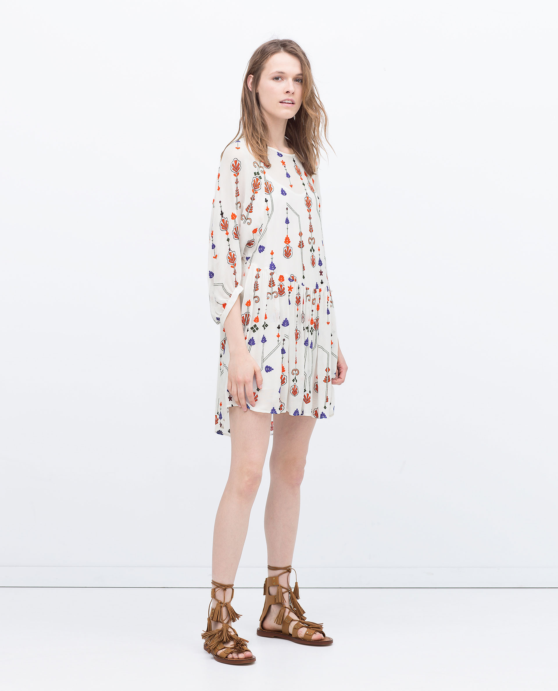 Zara Blue Oriental Flower Dress