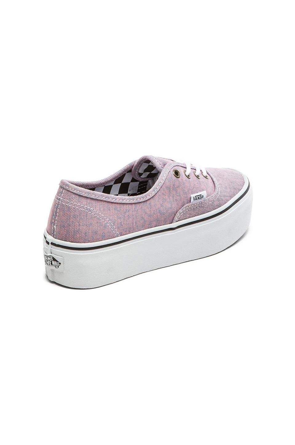 ac13e4bef8 Lyst - Vans Authentic Washed Denim Platform Sneaker in Pink