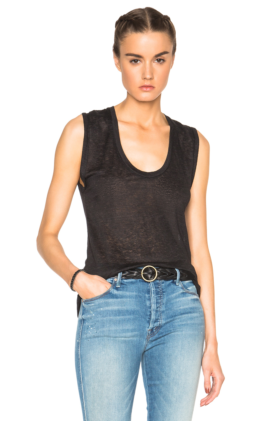 Isabel marant maik linen tee in black lyst for Isabel marant t shirt sale