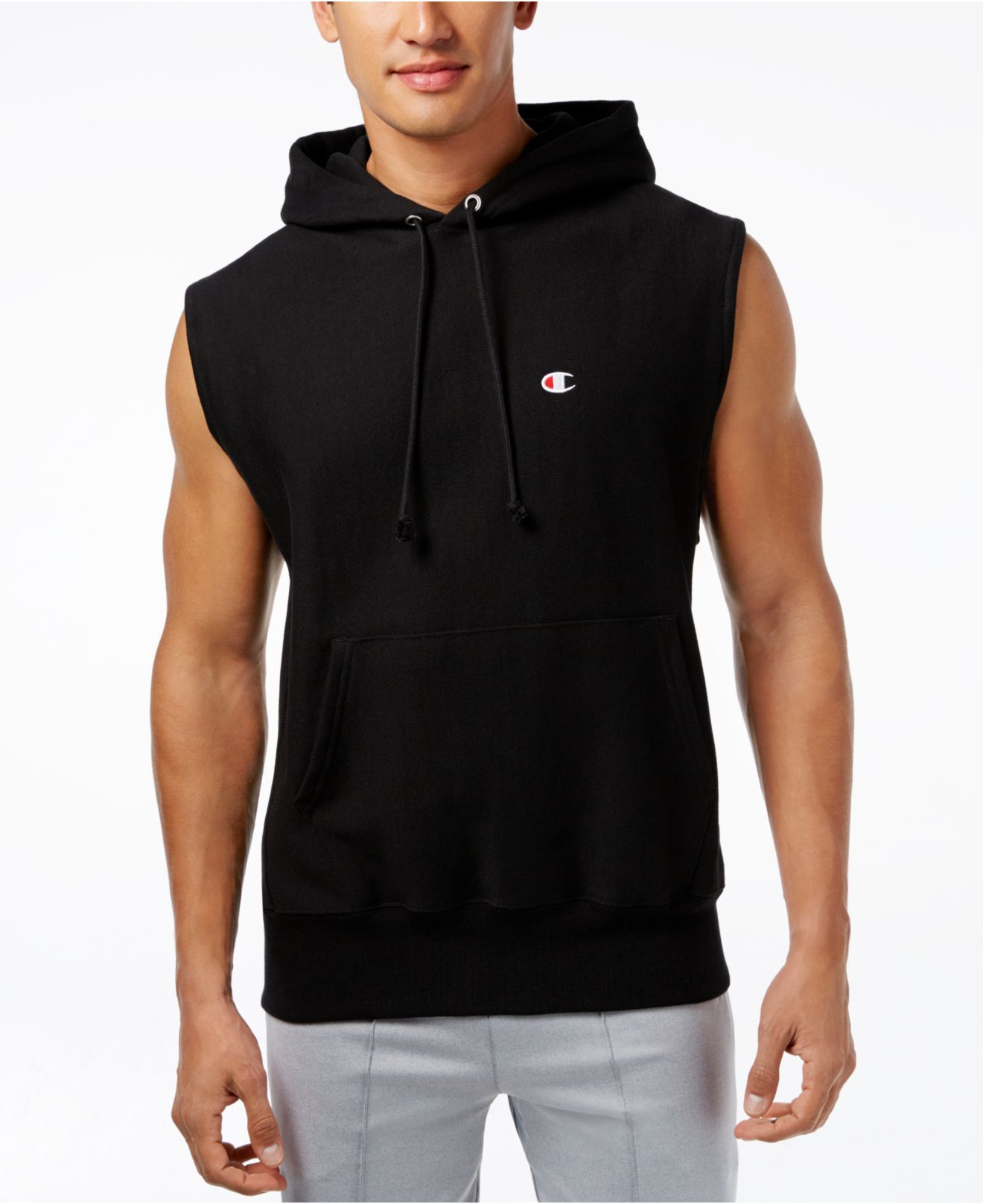 Champion Men's Sleeveless Hoodie in Gray for Men | Lyst