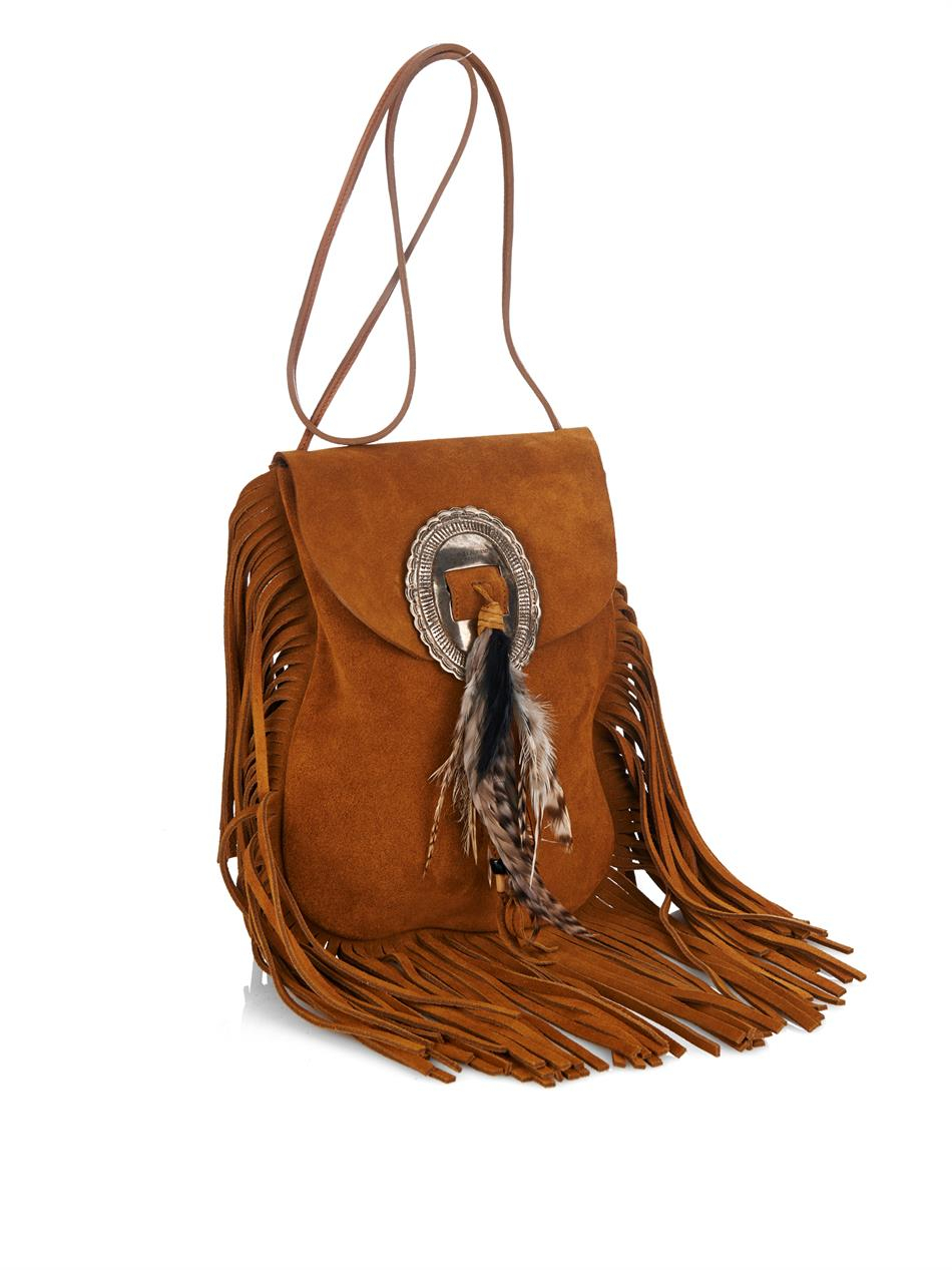 62a602ea8887 Lyst - Saint Laurent Anita Small Suede Cross-Body Bag in Brown