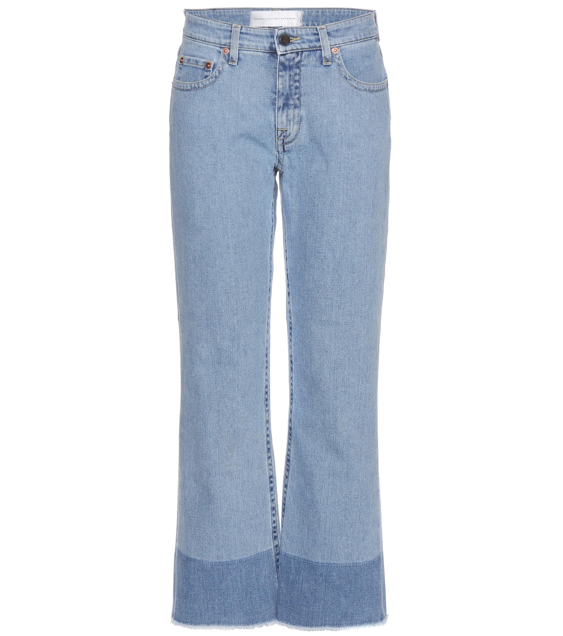 Victoria, Victoria Beckham Woman Faded Straight-leg Jeans Mid Denim Size 25 Victoria Beckham