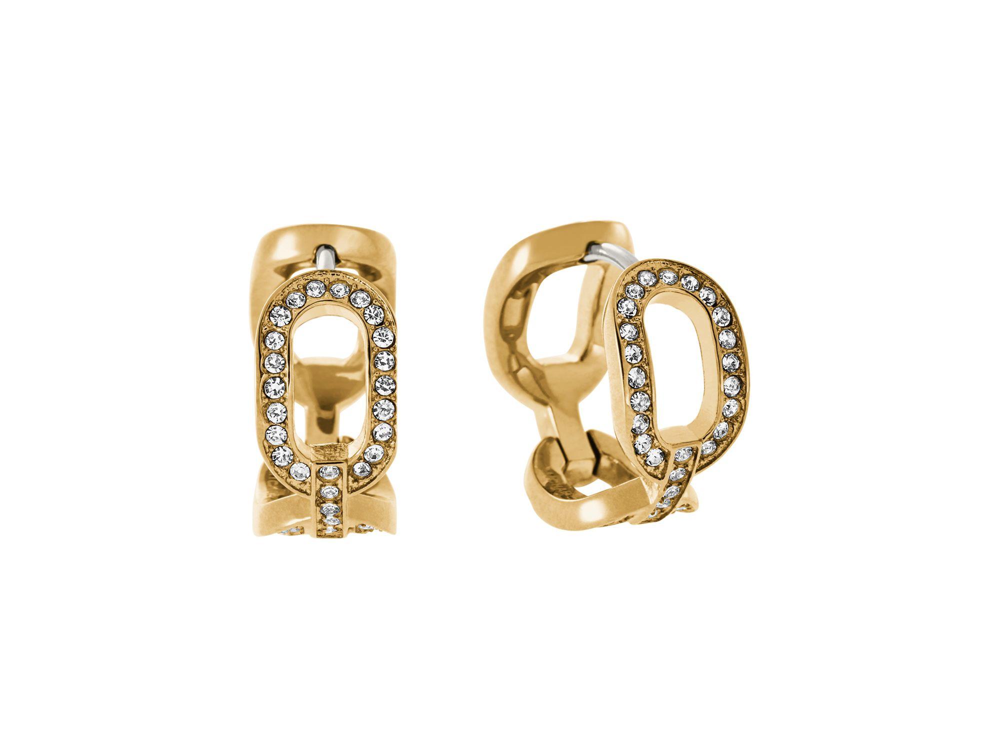 michael kors frozen chain huggie earrings in gold gold