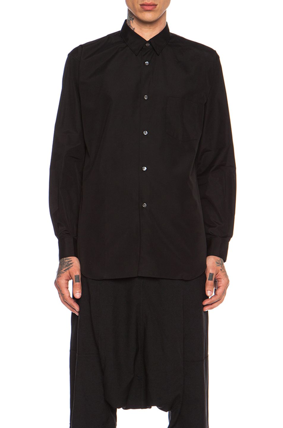 Comme Des Gar Ons Forever Wool Poplin Button Down In Black