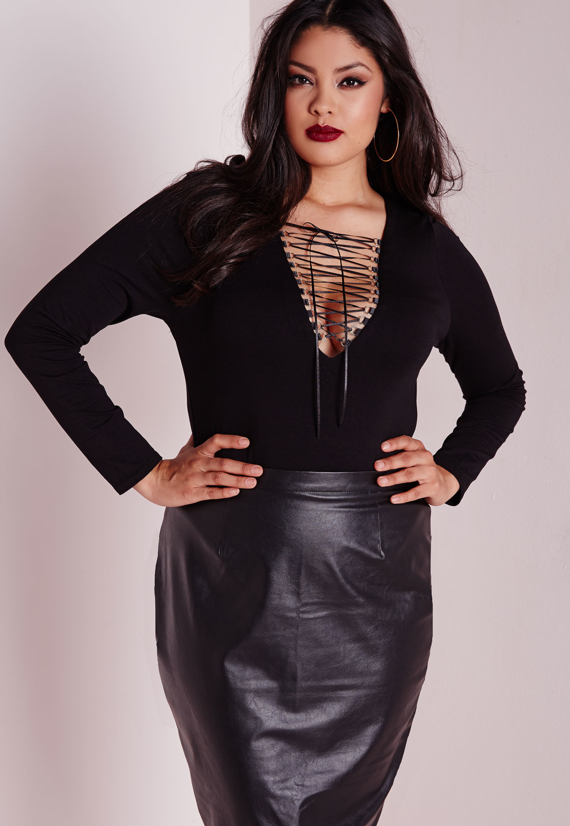 Missguided Sheer Mesh Panelled Lace Bodysuit Black in ...