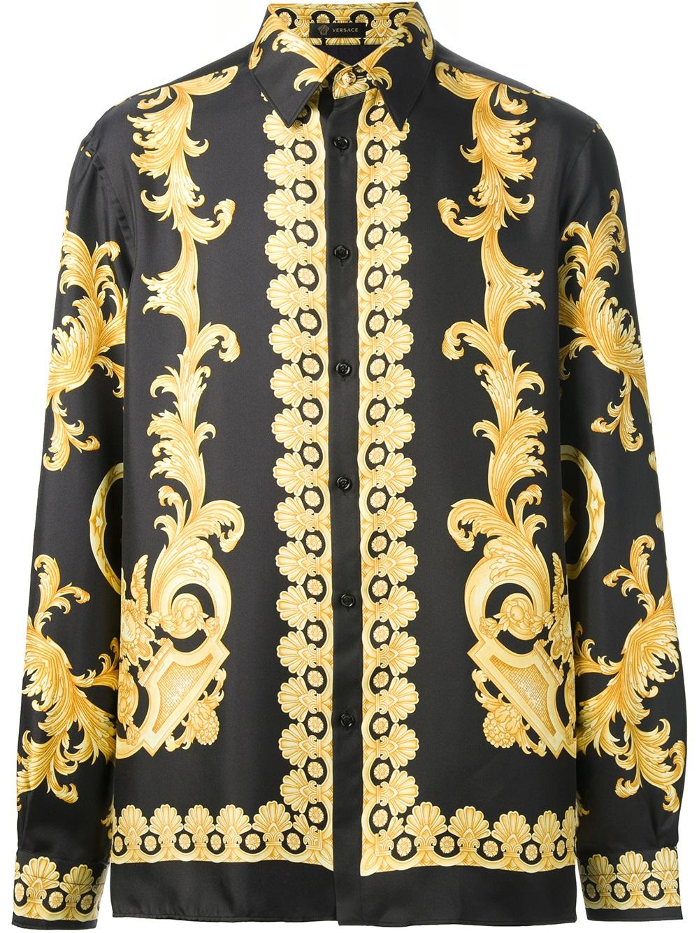 Versace Baroque Print Shirt in Black for Men - Lyst