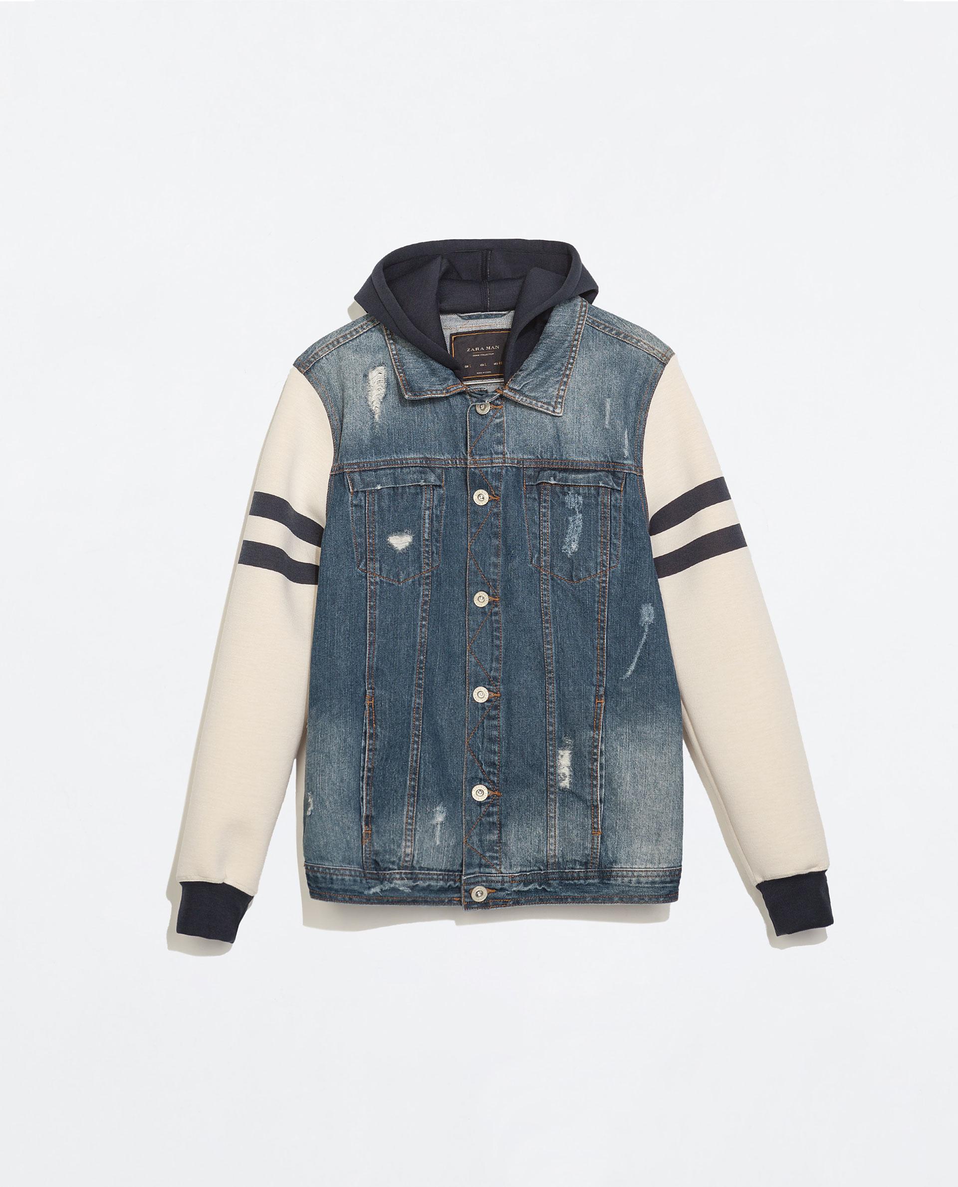 Zara Combined Denim Jacket in Blue for Men | Lyst