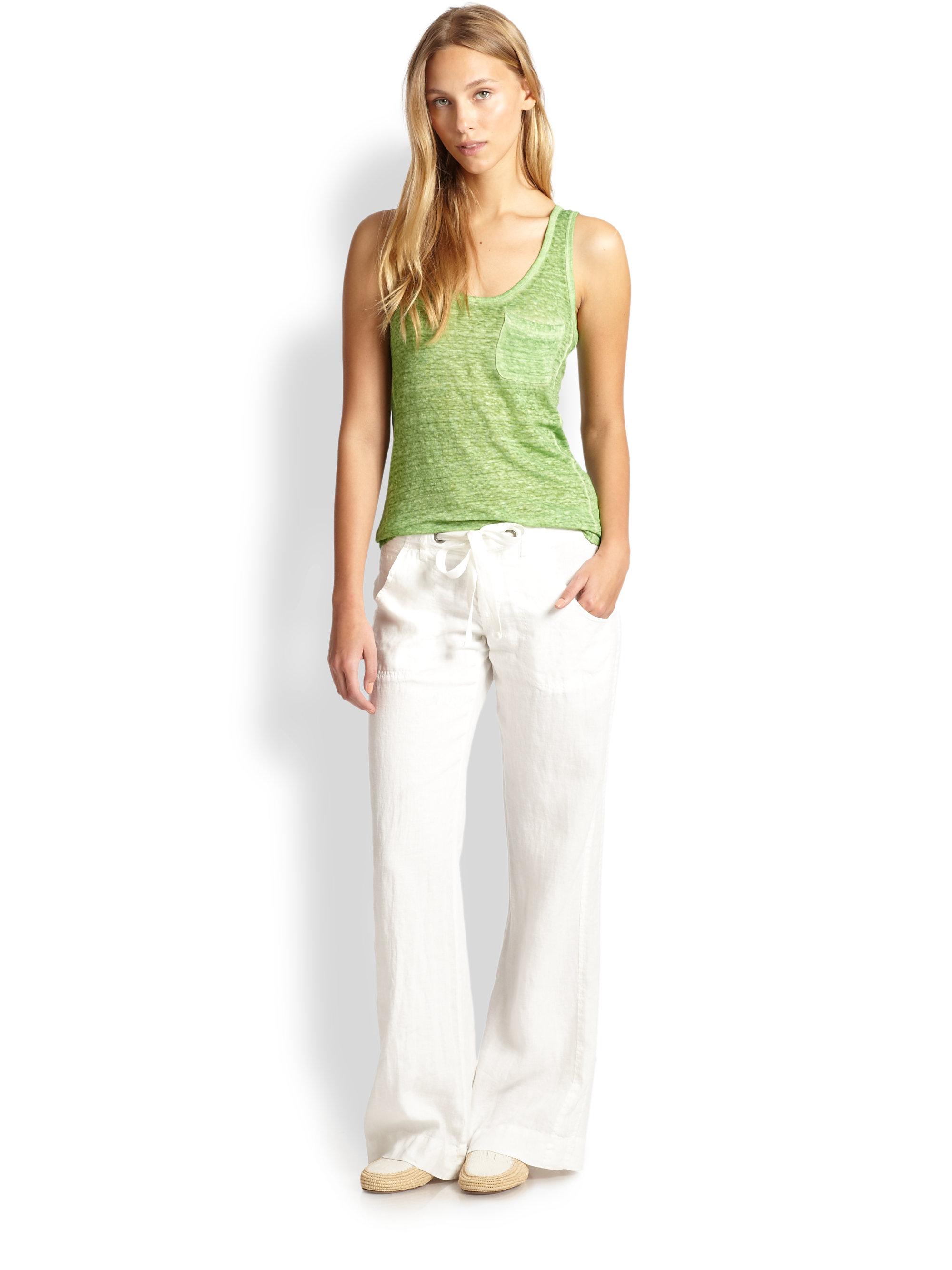 Joie Irreplaceable Wide Leg Linen Pants in White | Lyst