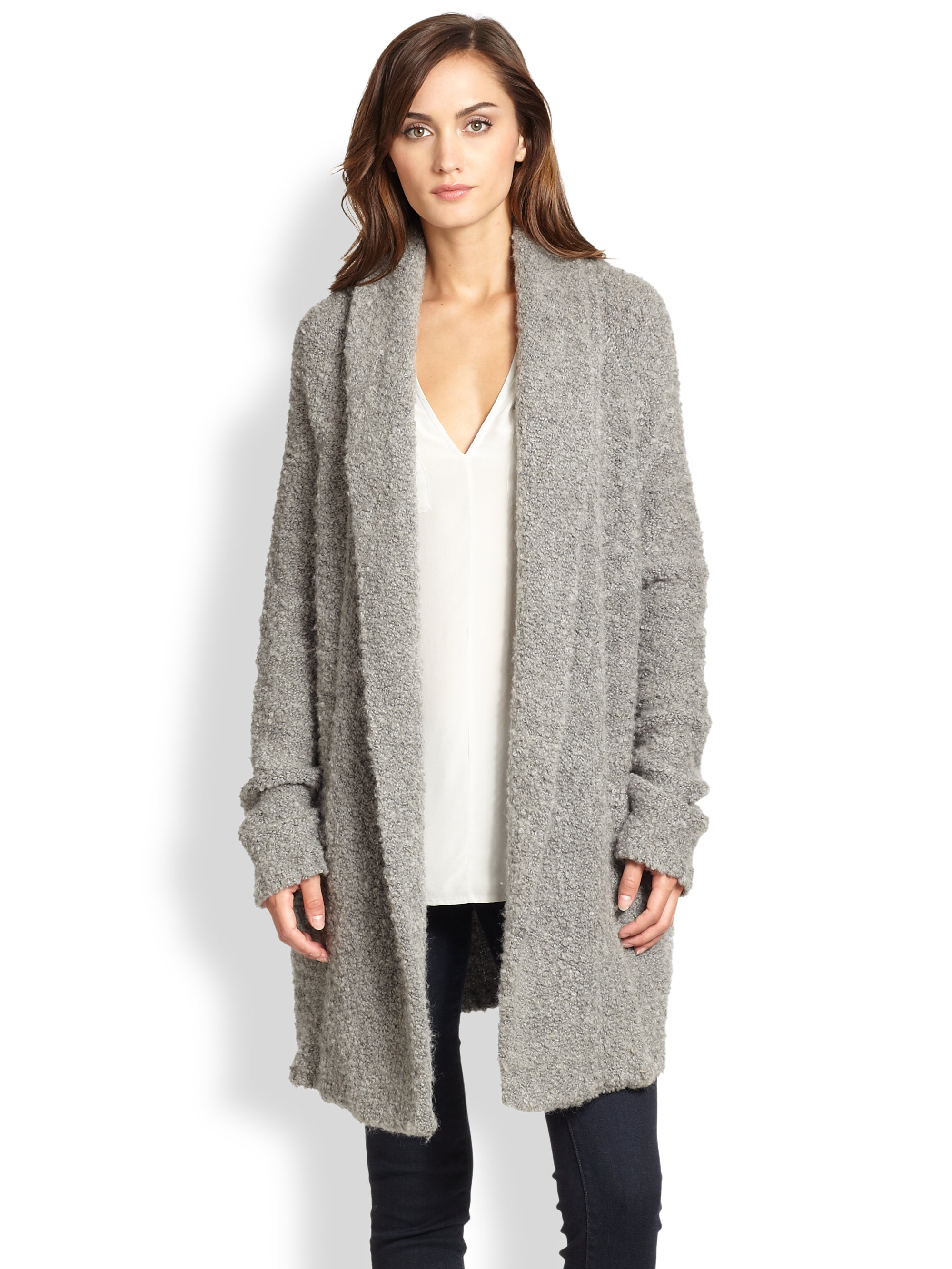 Joie Solome Soft BouclÉ Cardigan in Gray | Lyst